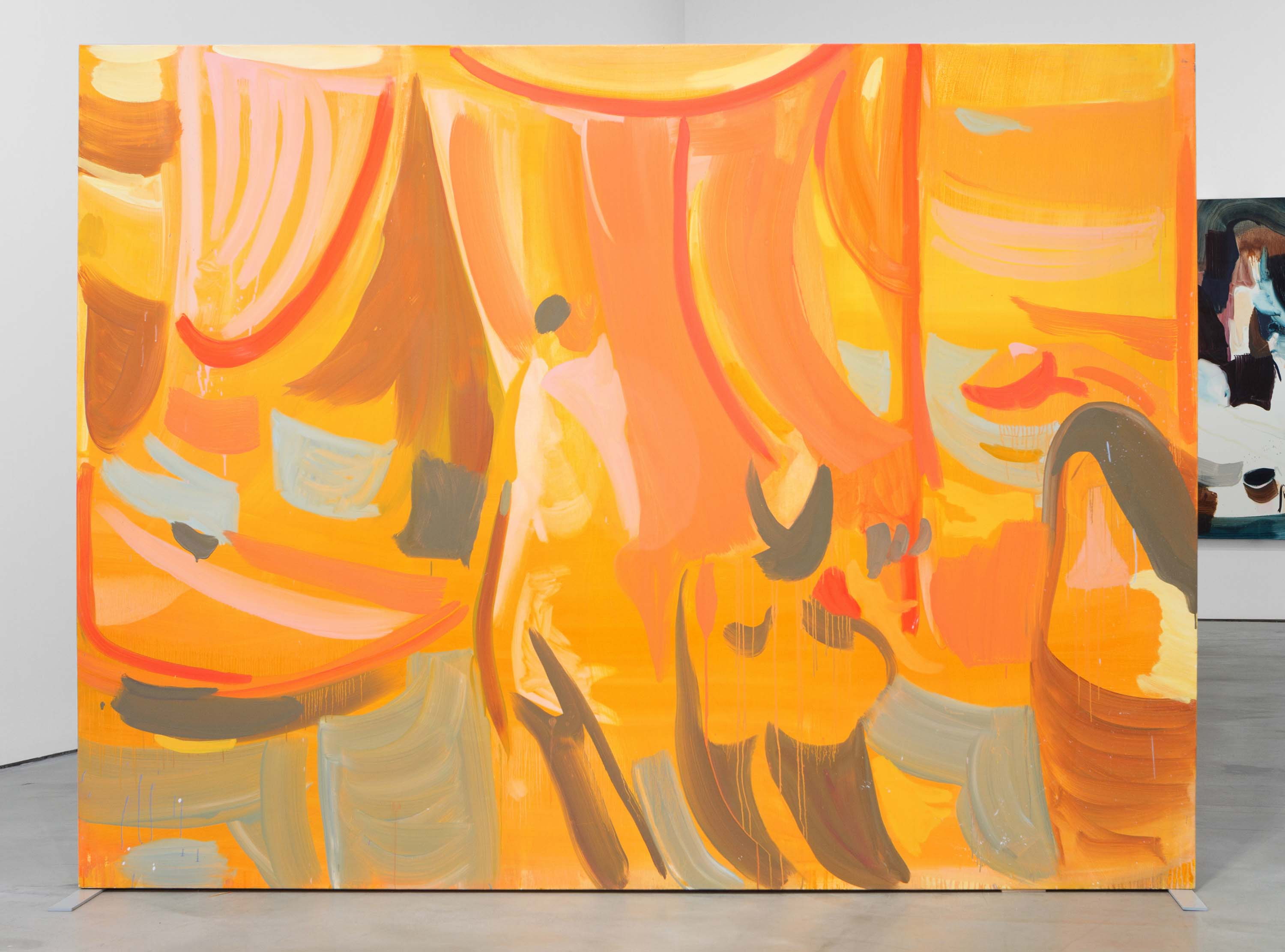 Amy MacKay, assembling a stage with two rooms for dreaming, 2018, oil on canvas, 72 x 96