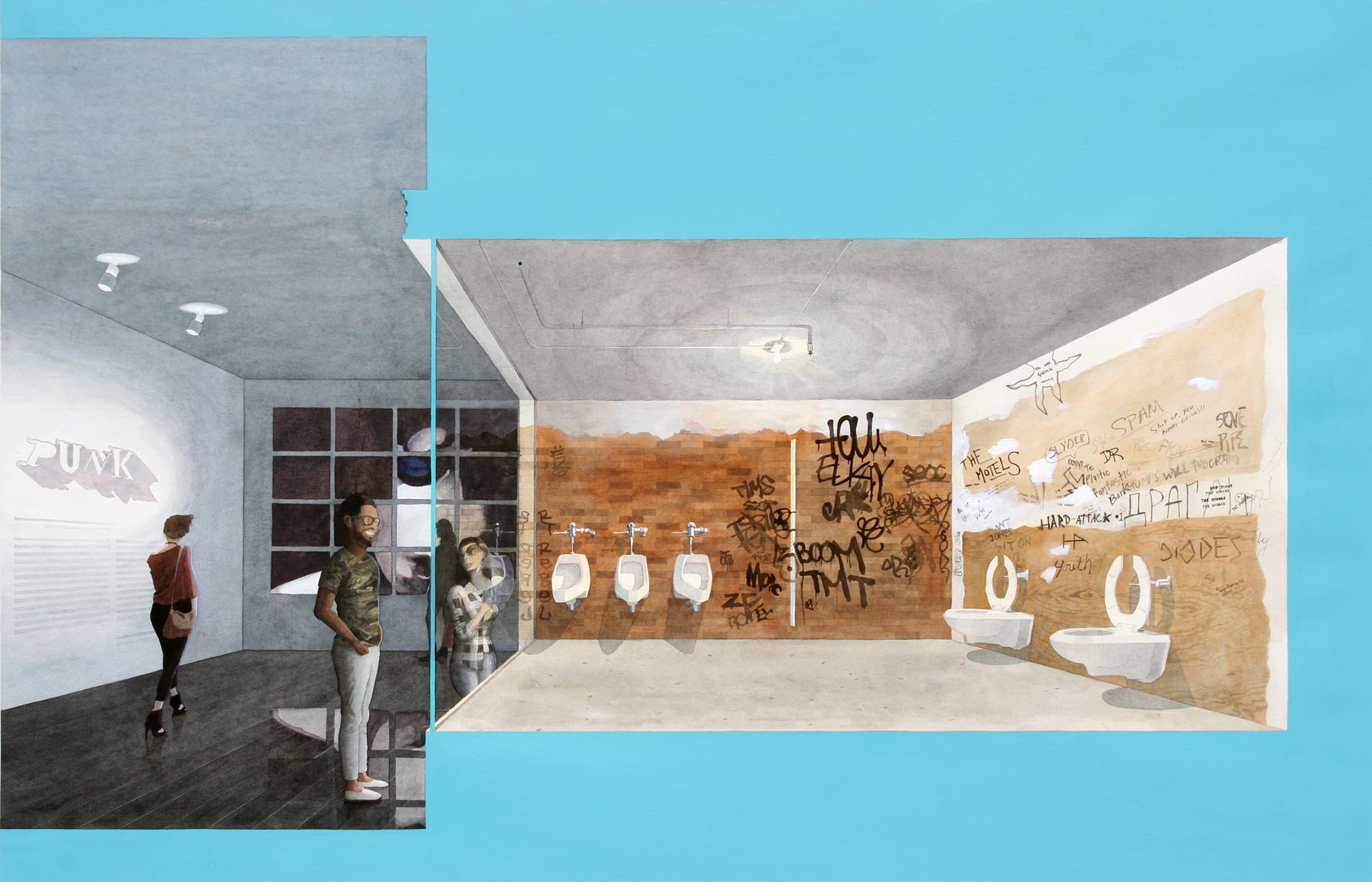 "Adrian Coleman, The Metropolitan Punk Show, watercolor and gouache on paper, 56"" x 36,"
