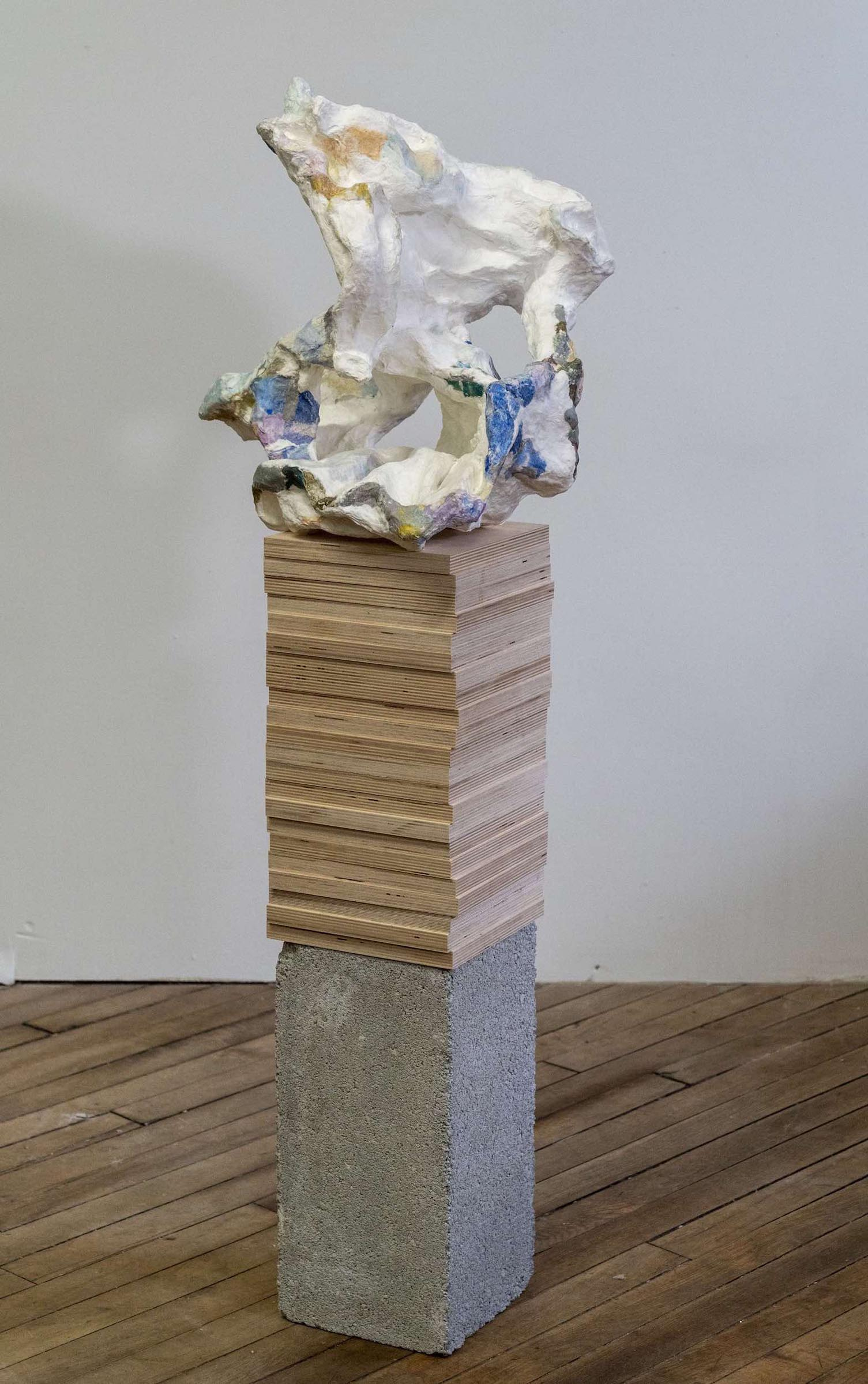 Alexis Granwell, Deluge Handmade paper, paper mache, wood, cement 49