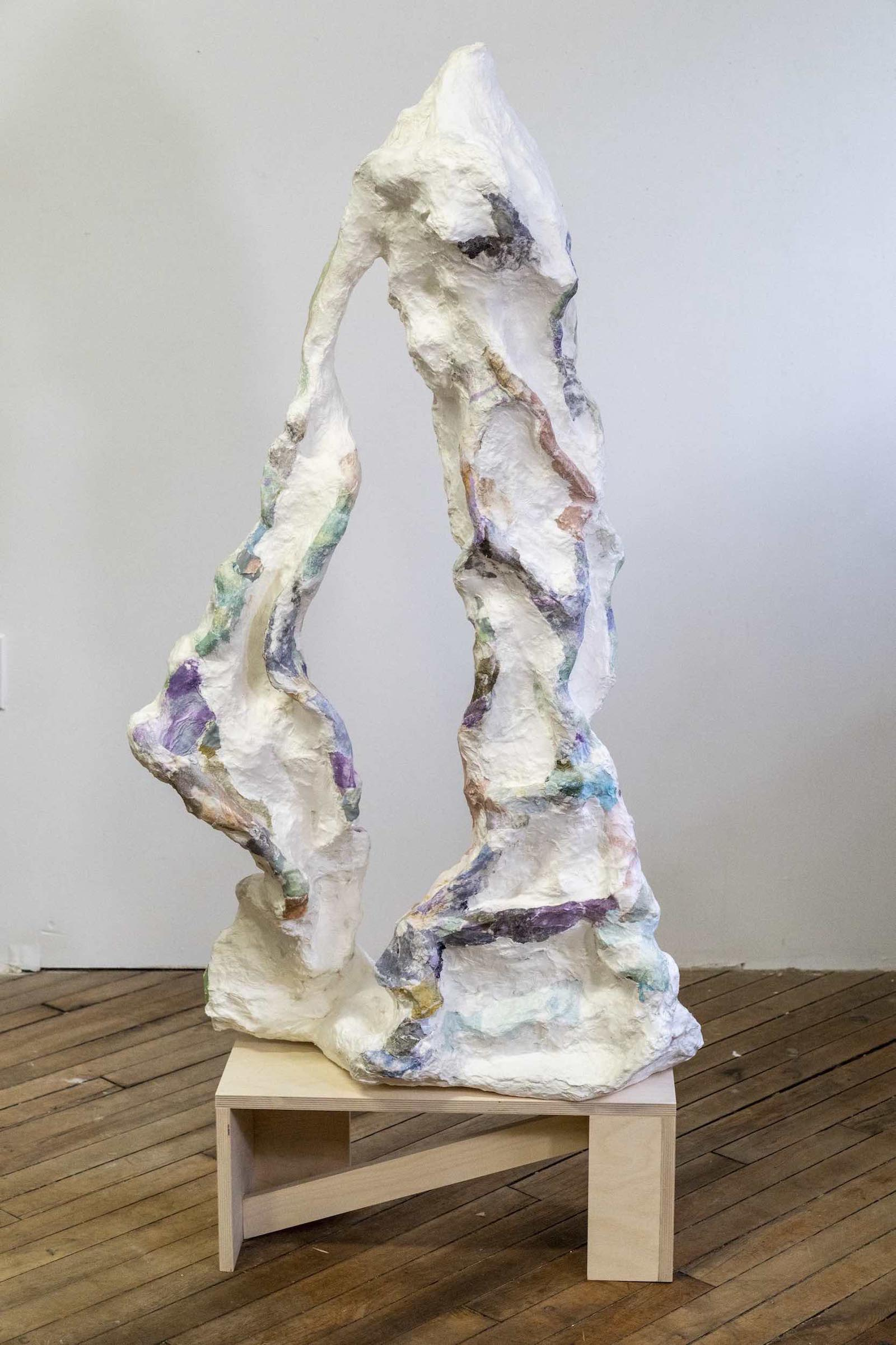 "Alexis Granwell, Hallow Handmade paper, paper mache, wood 59"" x 24"" x 12"" 2019"