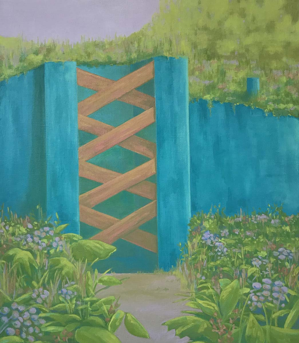 Anna Ortiz, Blue Border Wall Oil on Canvas 30