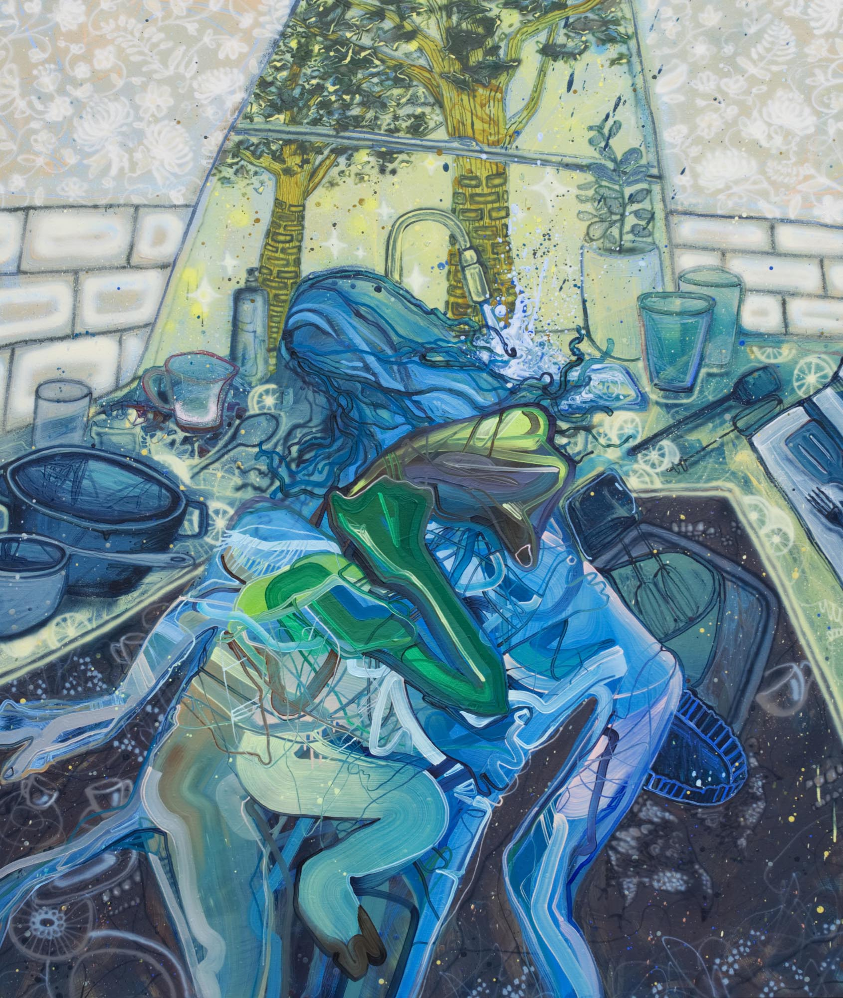 Dana Oldfather, The Dishwasher, oil, acrylic, airbrush, spray paint on linen, 72 x 60 inches, 2019