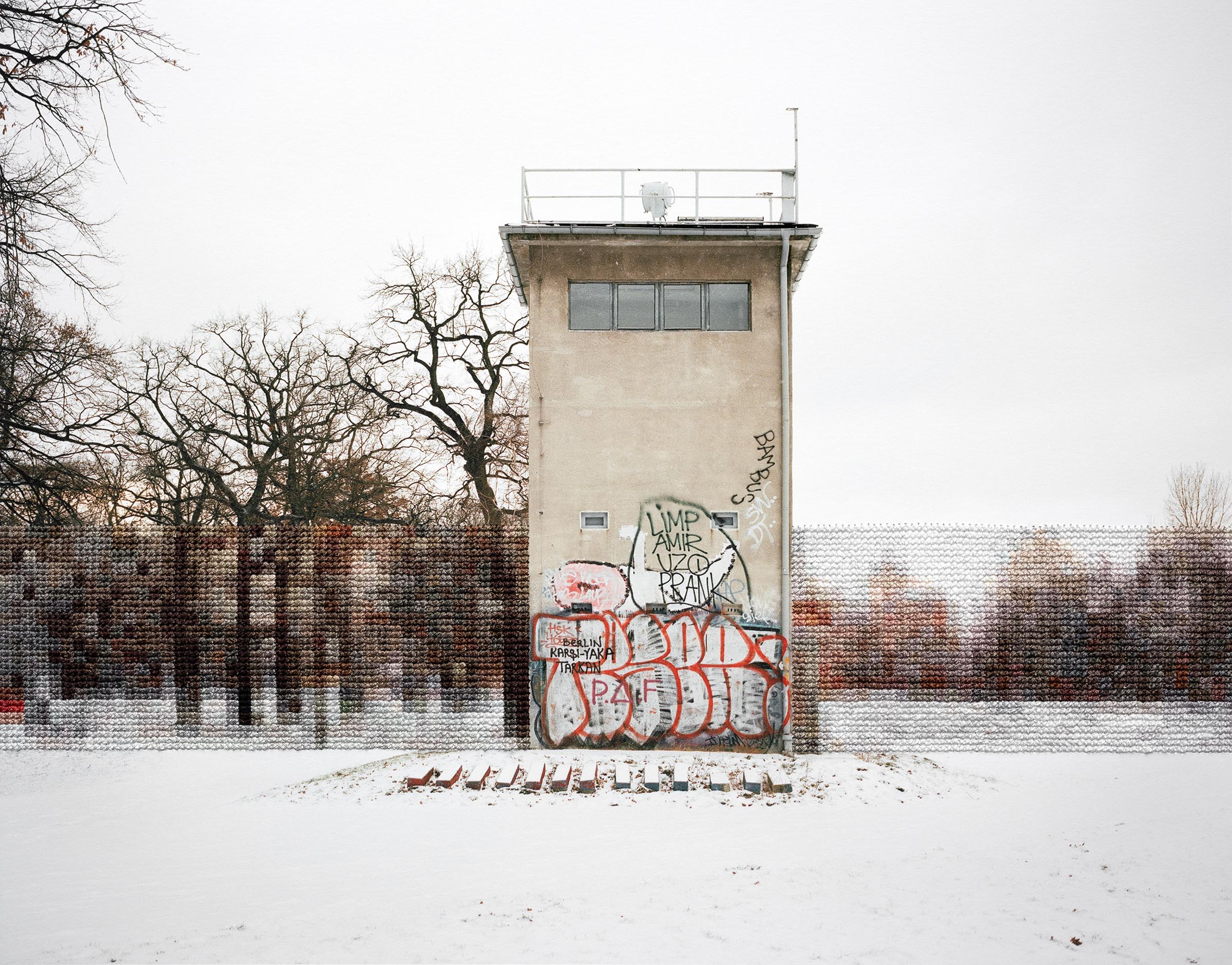 Diane Meyer , Former Guard Tower Off Puschkinallee, Hand Sewn Archival Ink Jet Print, 10.5 x13.25 inches, 2013