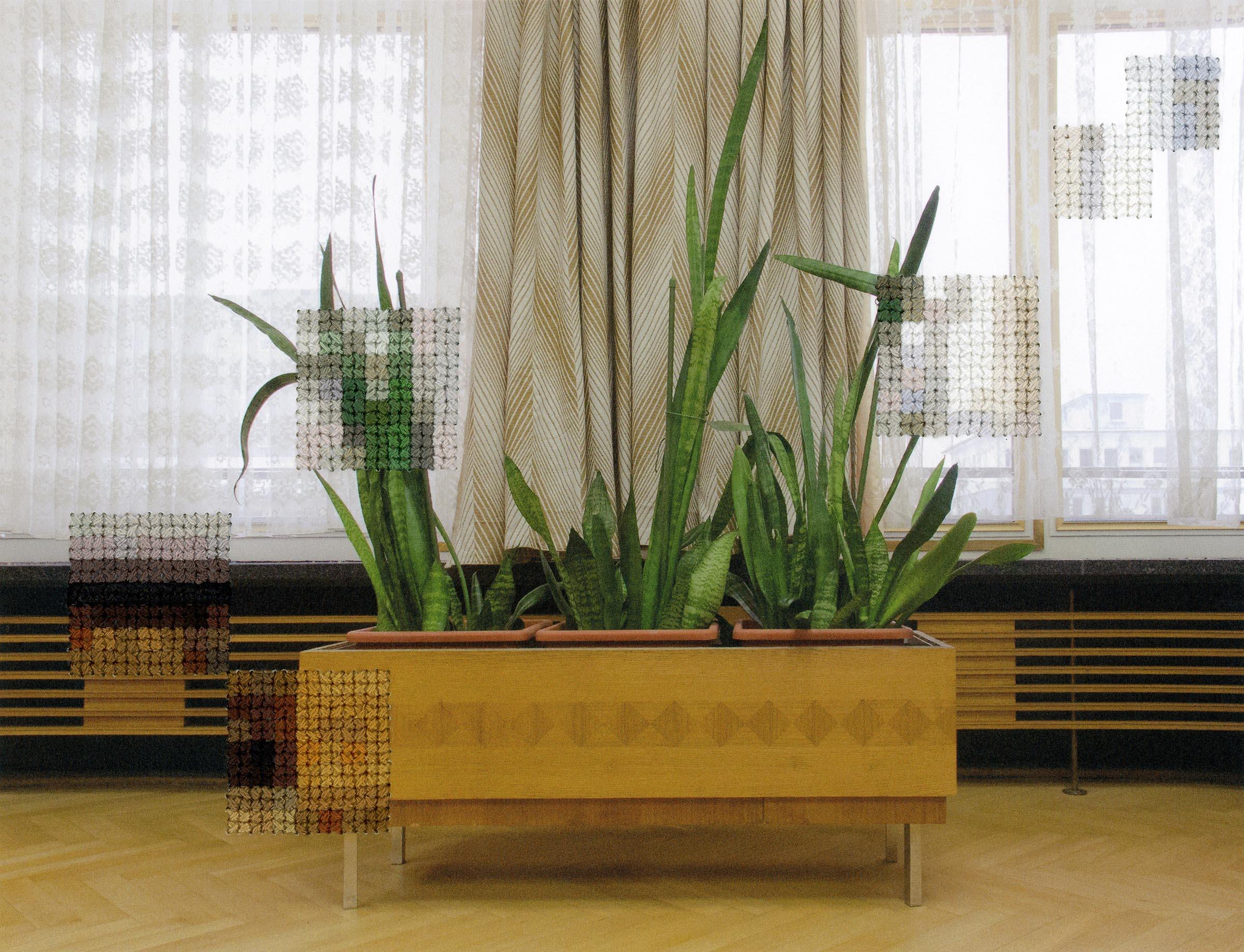 Diane Meyer , Plants, Former Offices of the State Secret Police, Hand Sewn Archival Ink Jet Print, 6x 7.5 inches, 2012