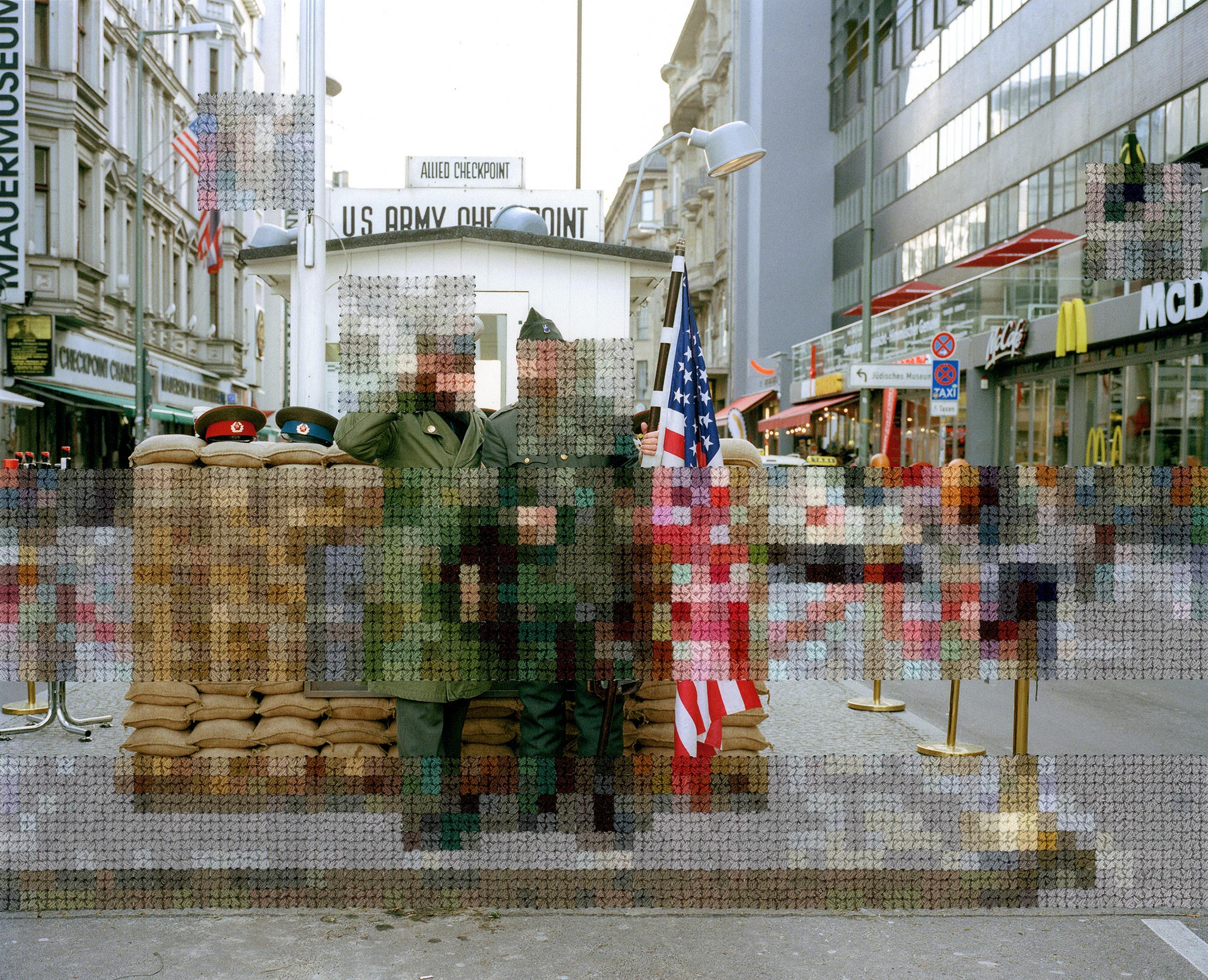 Diane Meyer , Checkpoint Charlie, Hand Sewn Archival Ink Jet Print, 7x9 inches, 2015