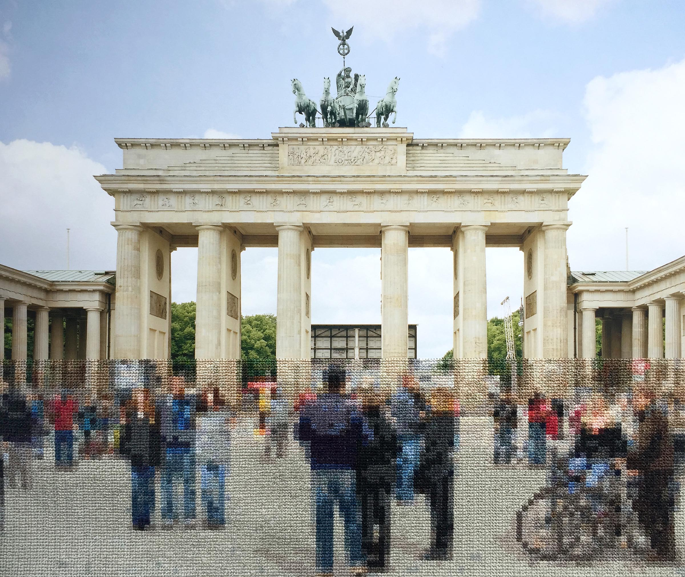 Diane Meyer , Brandenburg Gate, Hand Sewn ARchival Ink Jet Print, 14x16 inches, 2015