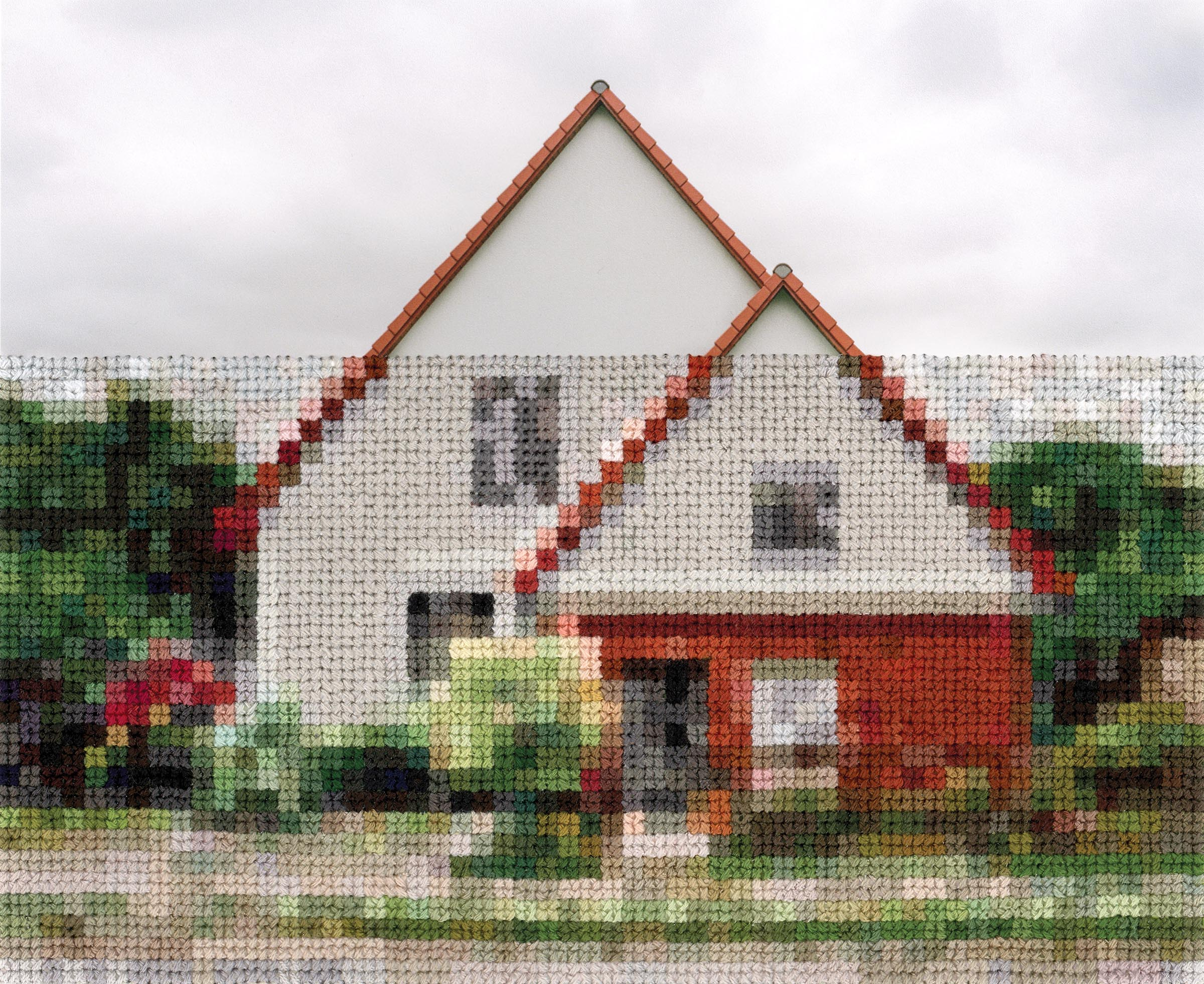 Diane Meyer , House, Wall Area Near Lichterfelde-Sud, Hand Sewn Archival Ink Jet Print, 5 x 7 inches, 2017