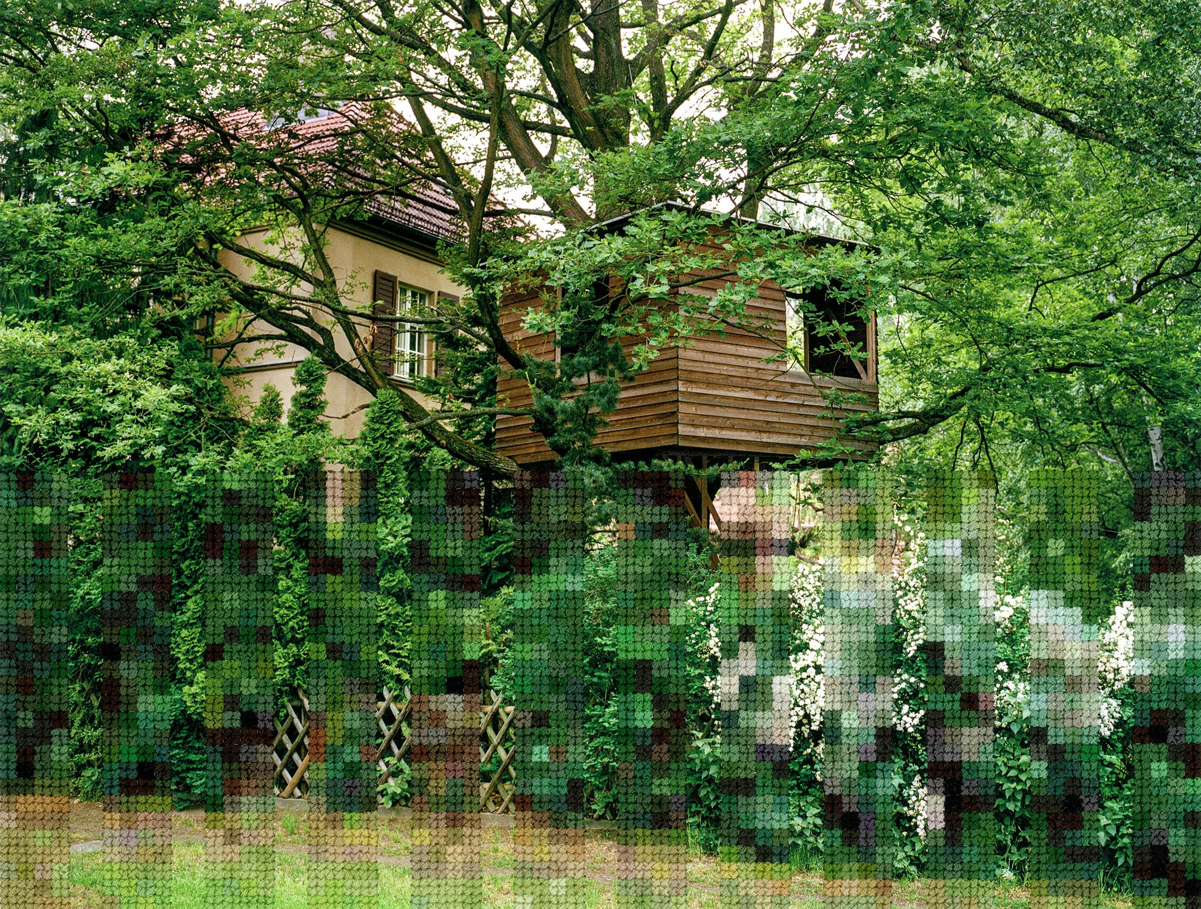Diane Meyer , Treehouse, Former Wall Area, Hand Sewn Archival Ink Jet Print, 7.5 x 9.75 inches, 2019