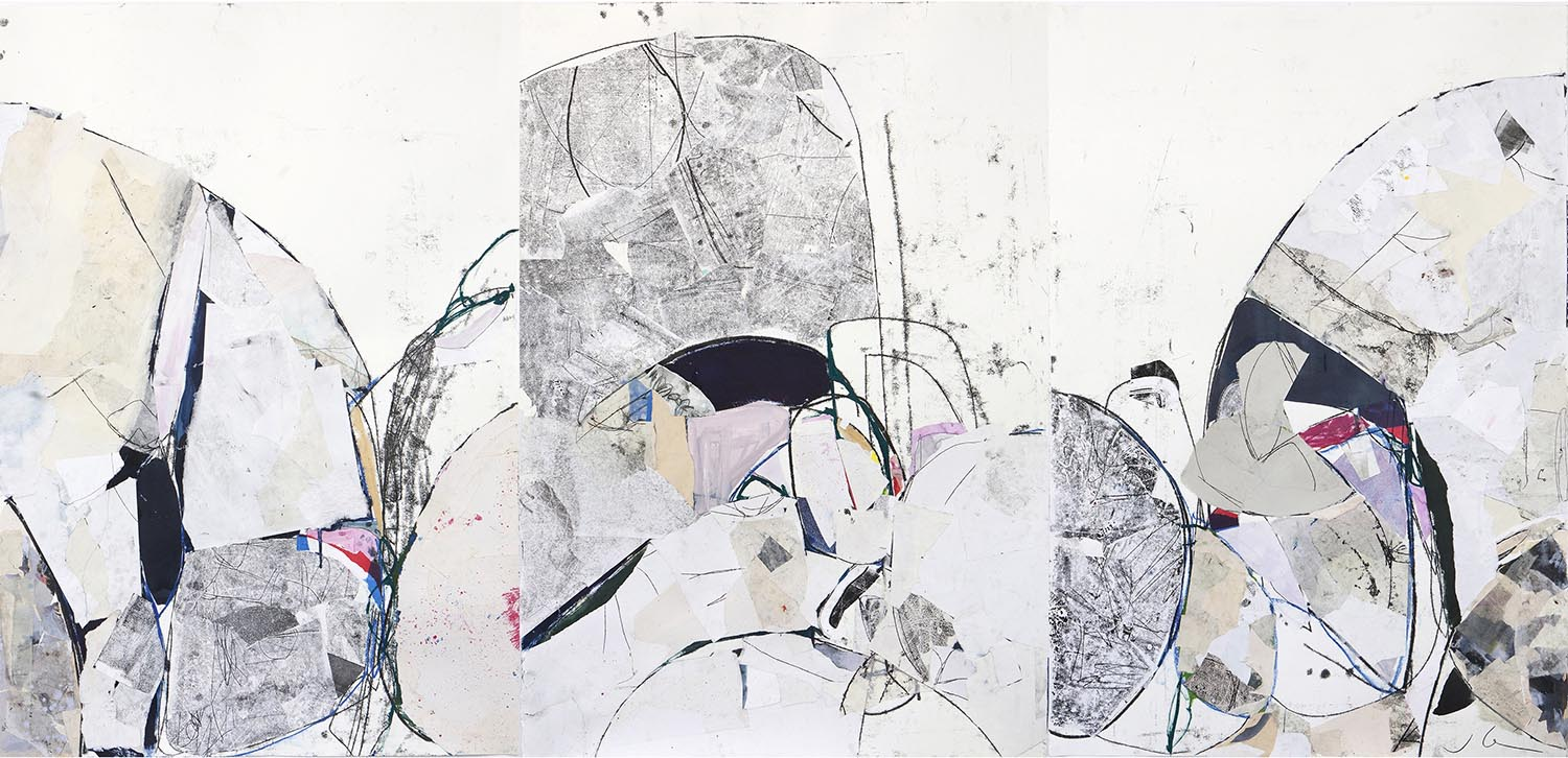 Jackie Leishman, Printmaking ink, paint, charcoal and collage on paper