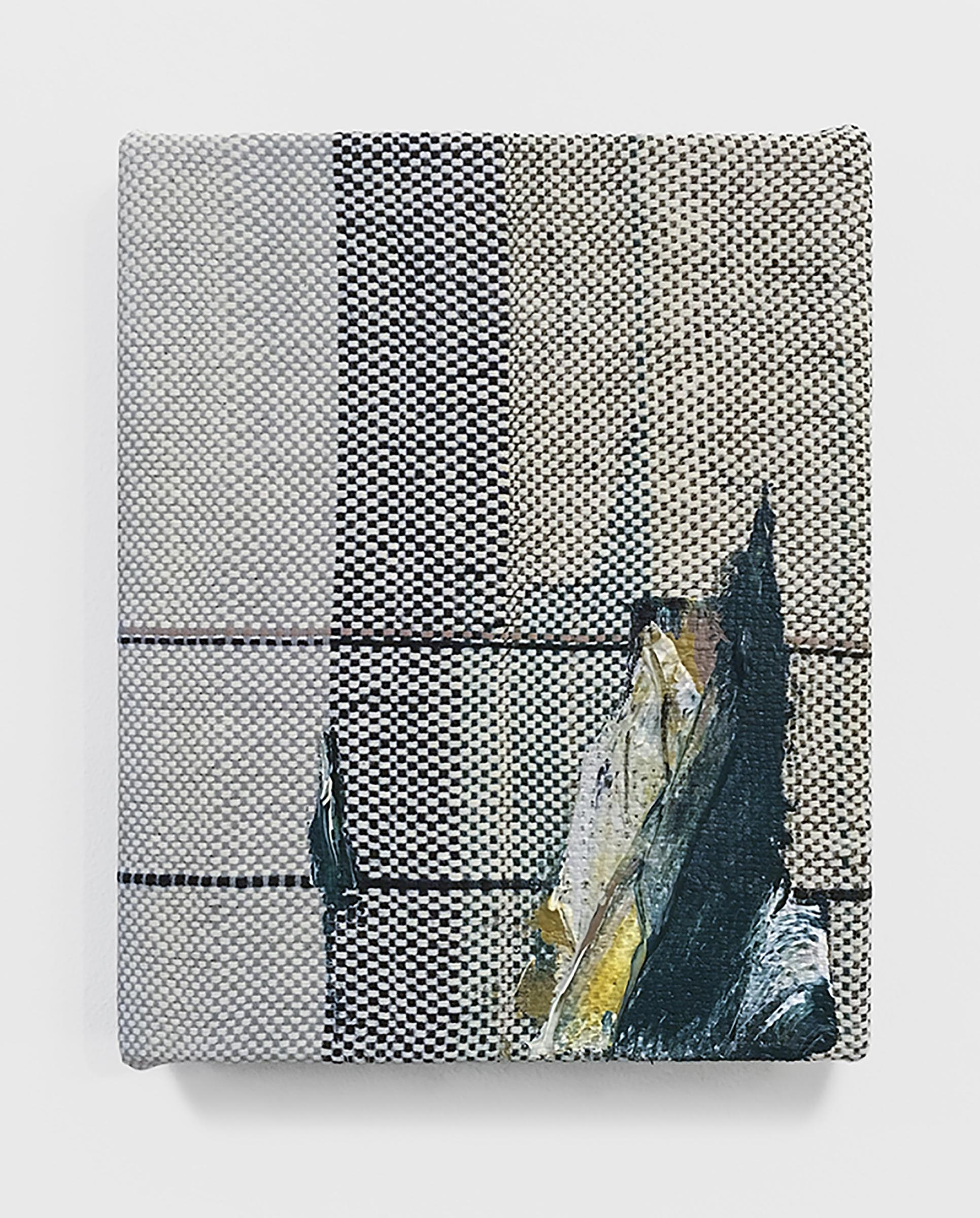 Mary Raap, Shadowboxer, Handwoven cotton and silk, acrylic over canvas, 10 x 8 x 1 in, 2018