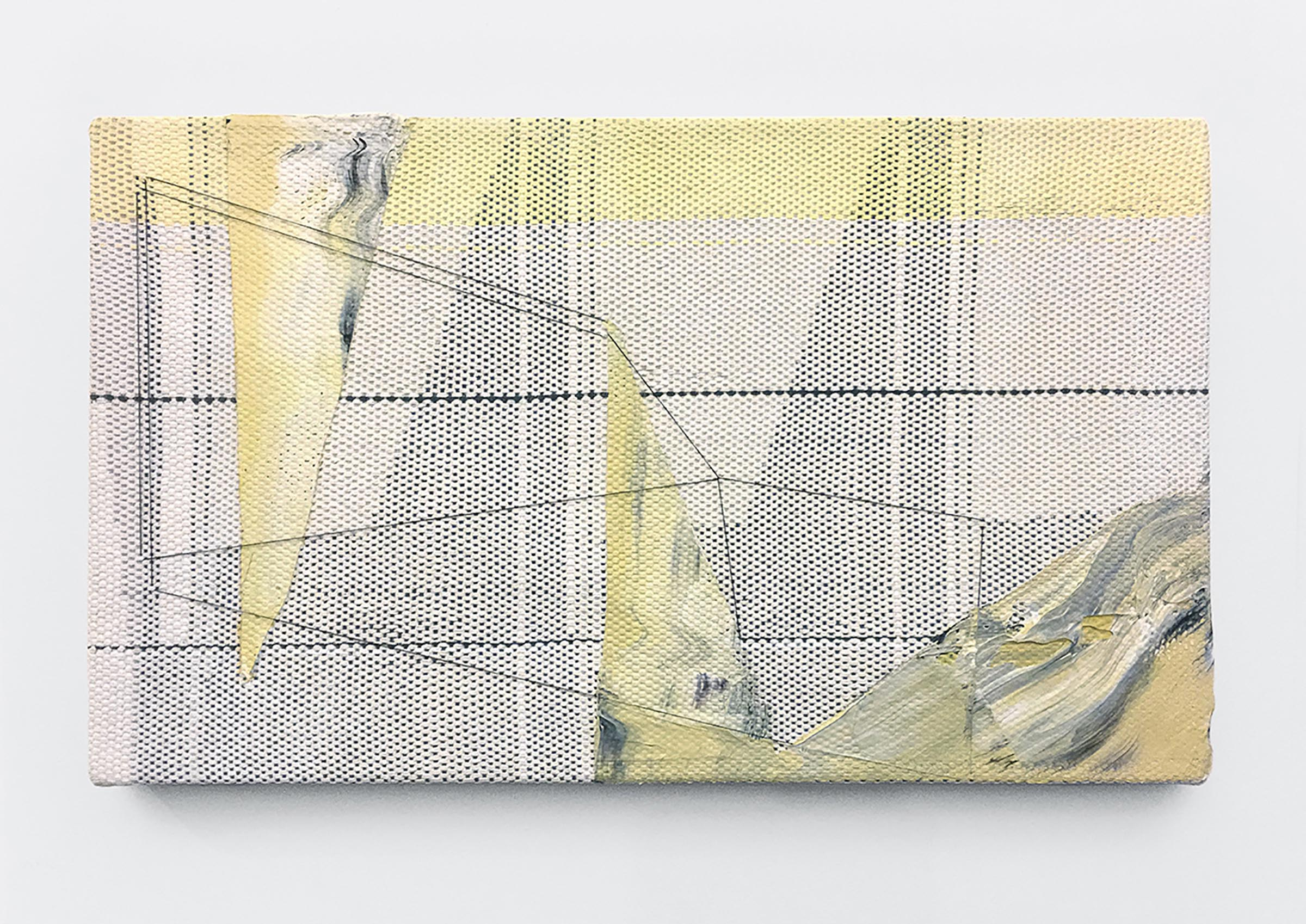 Mary Raap, Changing Tide, Handwoven cotton, silk, thread, and acrylic over canvas, 14 x 24 x 1.5 in, 2019