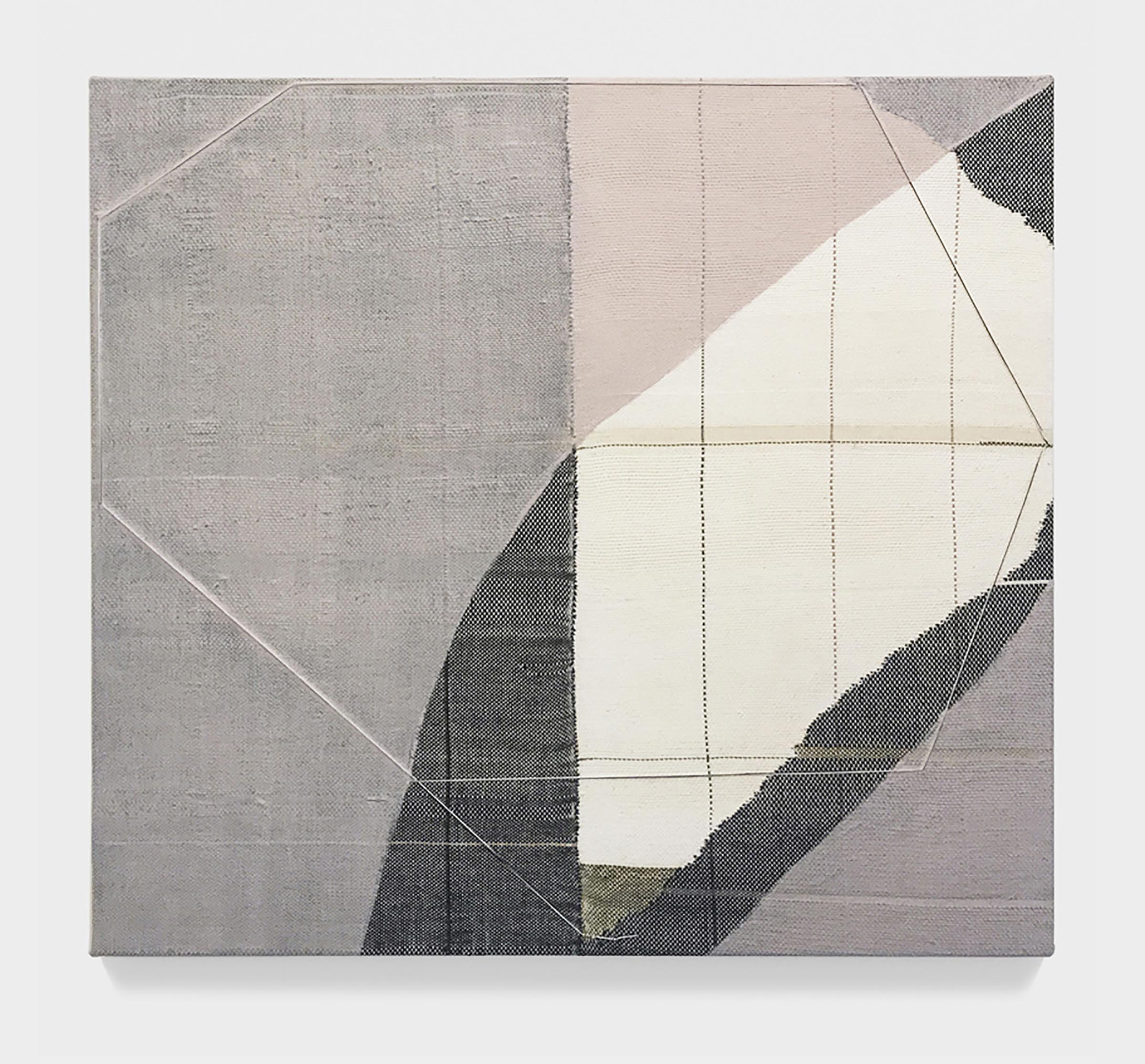 Mary Raap, Fog Veil, Handwoven cotton, silk, and acrylic over canvas, 30 x 32 x 1.5 in, 2019