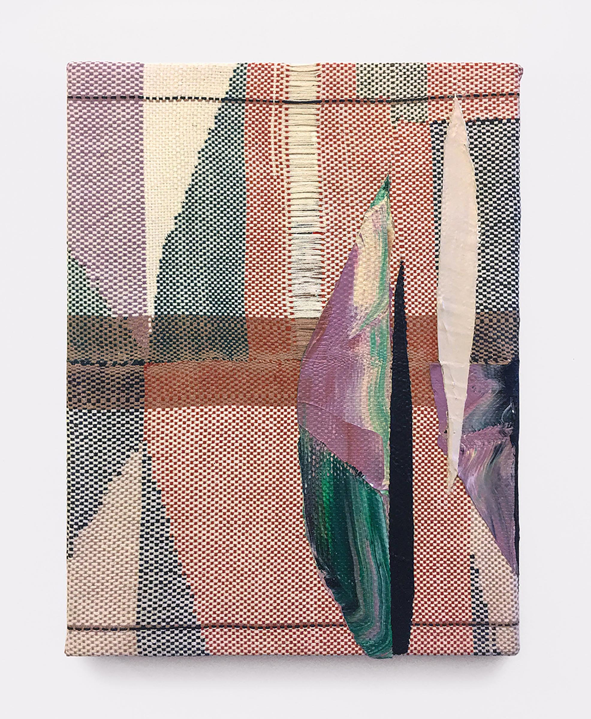 Mary Raap, False Dawn, Handwoven cotton and silk, acrylic over canvas, 16 x 12 x 1.5 in, 2019