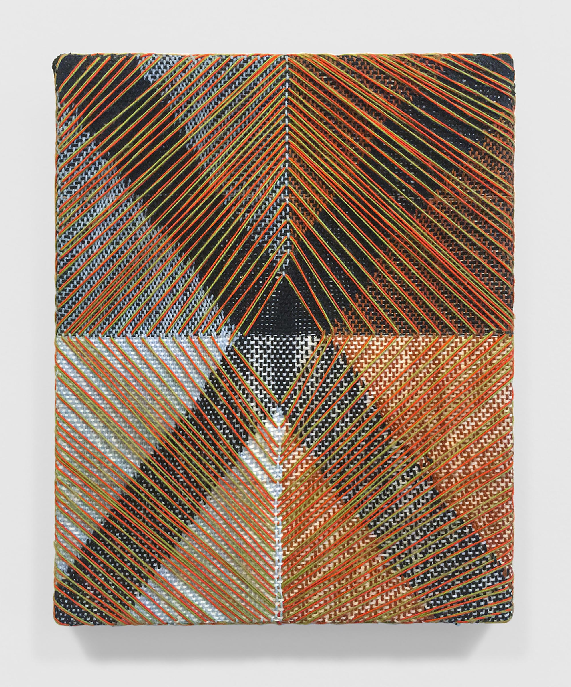 Mary Raap, Toxic Materials, Handwoven cotton and acrylic medium over canvas, 10 x 8 x 1 in, 2019