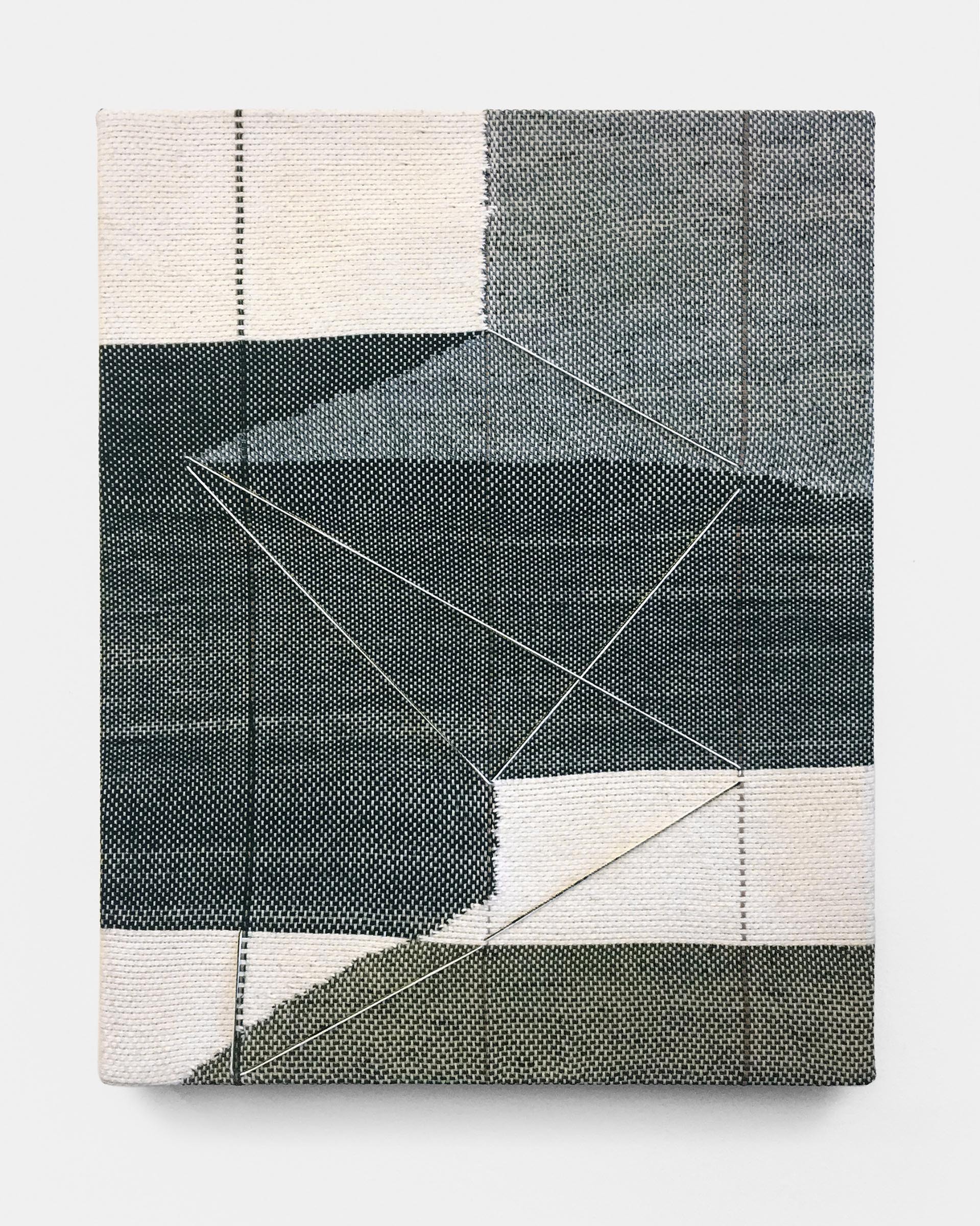 Mary Raap, The Slip, Handwoven cotton, silk, and acrylic medium over canvas, 18 x 14 x 1.5 in, 2019