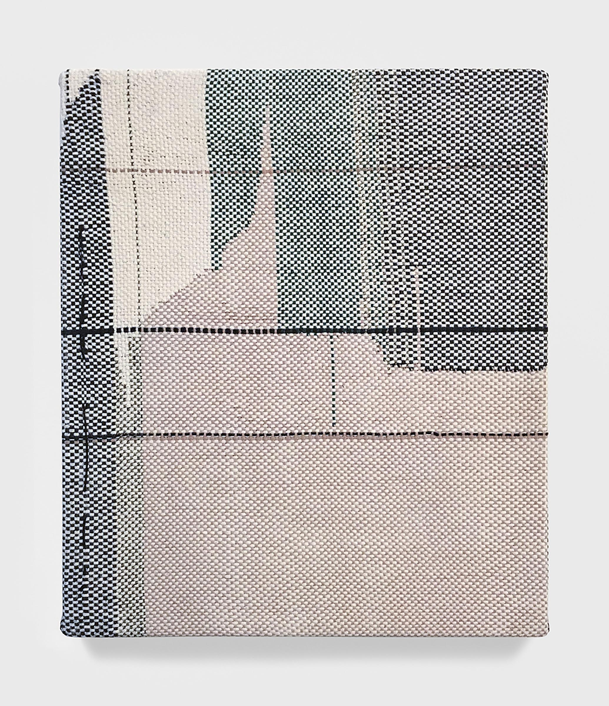 Mary Raap, Landing Gear, Handwoven cotton and silk, acrylic medium over canvas, 14 x 12 x 1 in, 2018