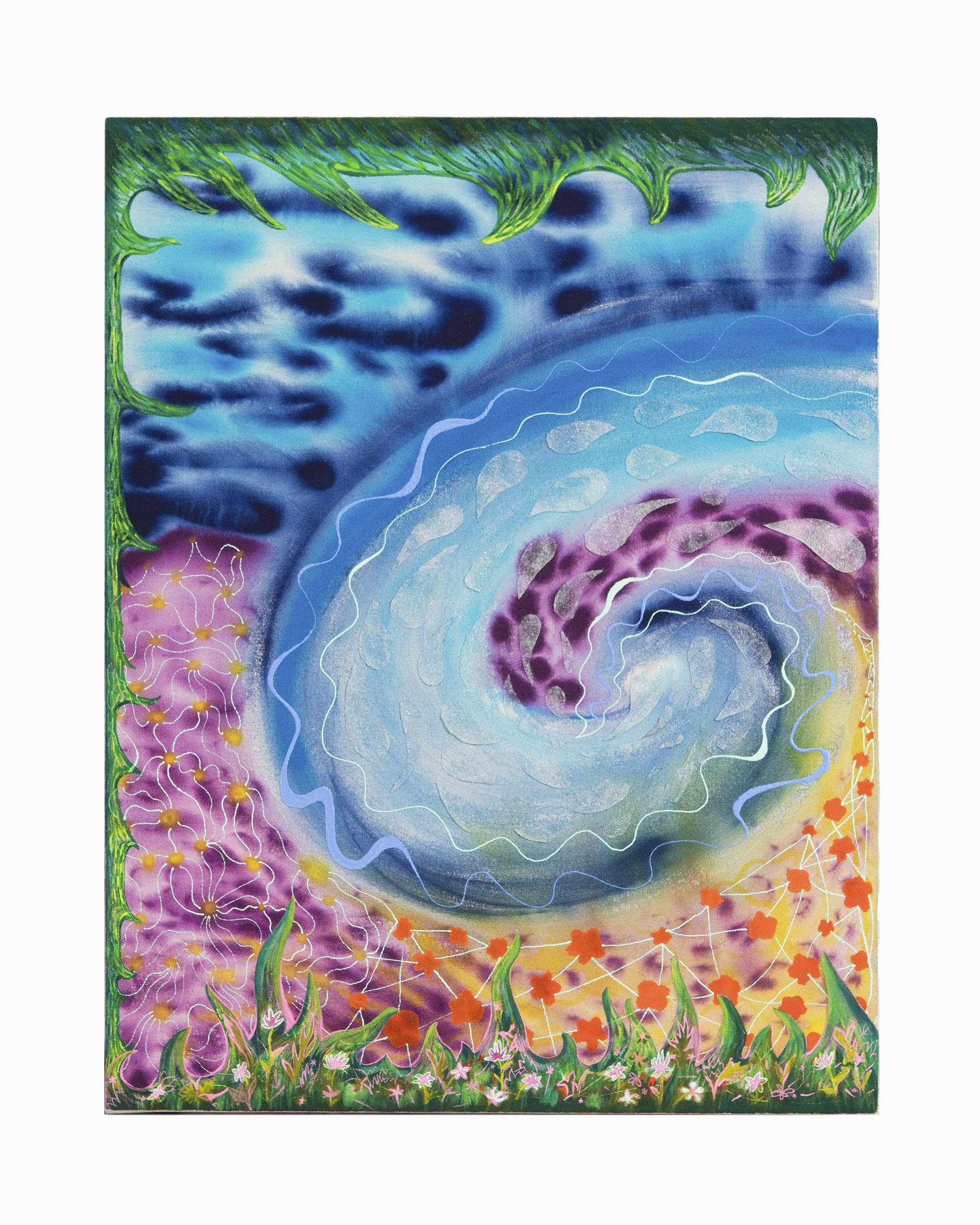 Natessa Amin, Falling like Drops of Water, Acrylic and glass bead on canvas, 20