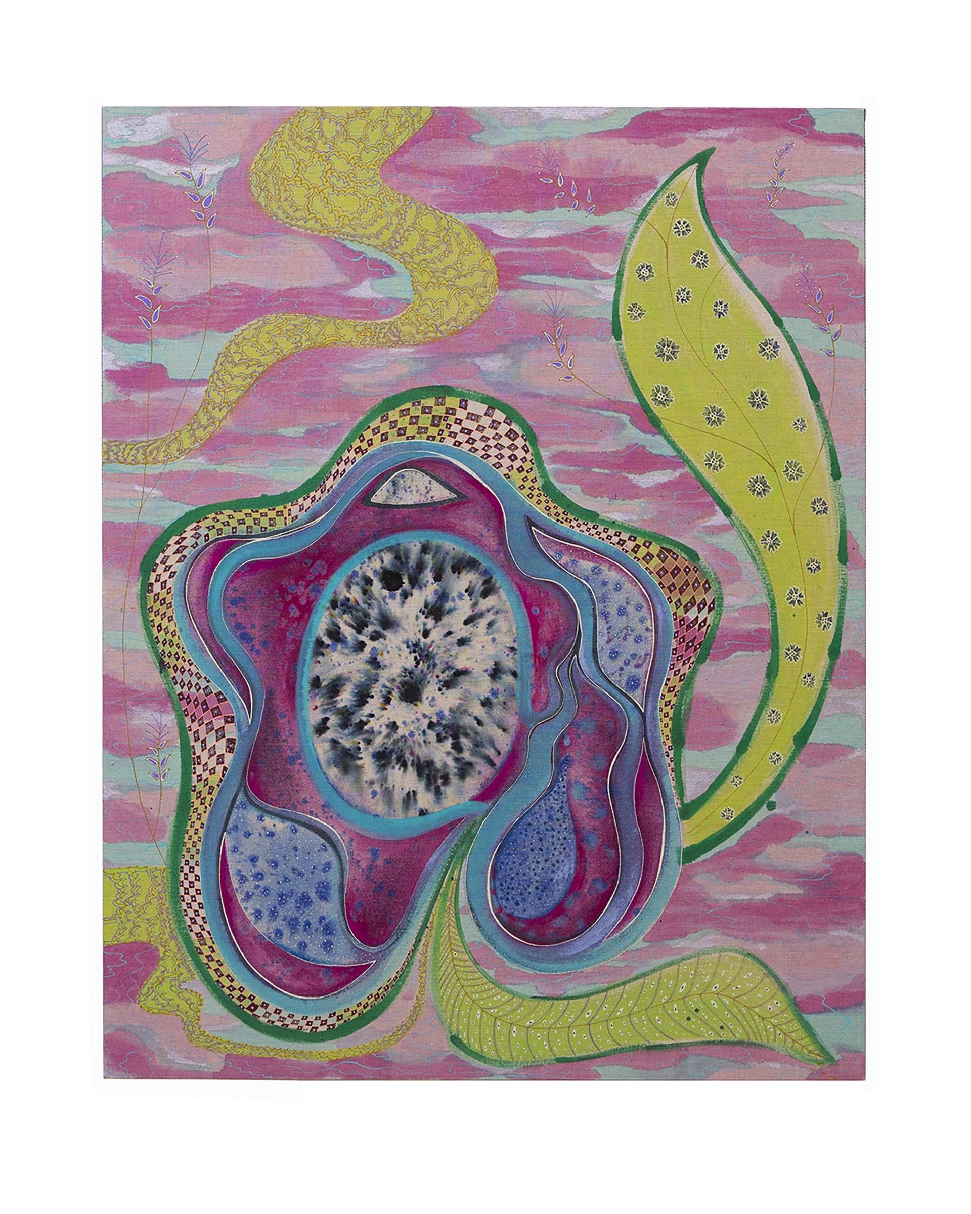 Natessa Amin, Murcury Blooms, Acrylic, mica, dye on linen, 36