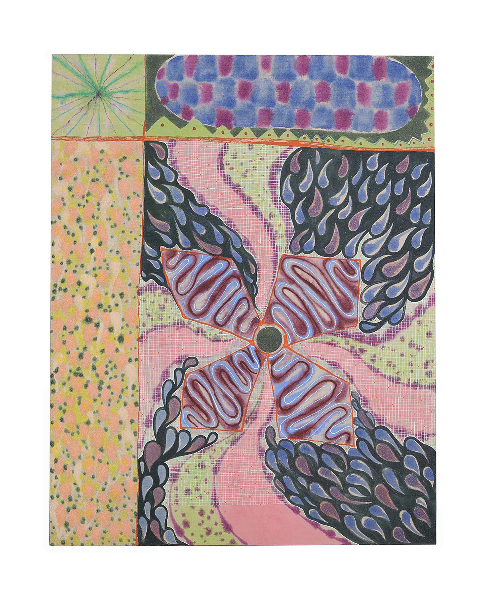 Natessa Amin, Pinwheel, Acrylic and glass beads on linen, 36