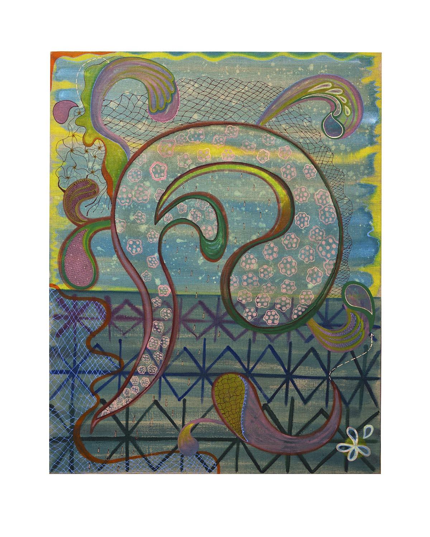 Natessa Amin, Taste the Wild Air, Acrylic and glass bead on linen, 36