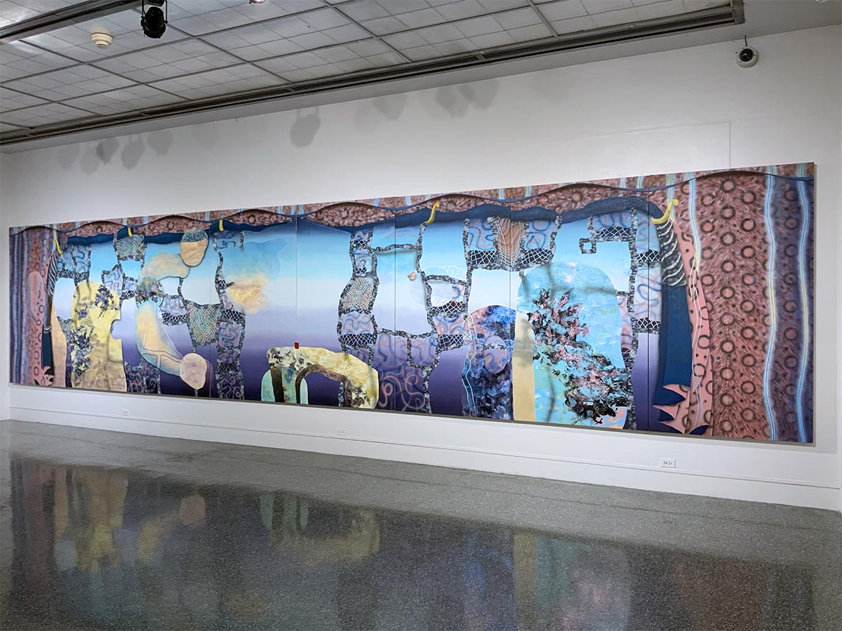 Su A Chae, Ataraxia (gallery install shot), acrylic and molding paste on canvas, 80 x 360 inches, 2019