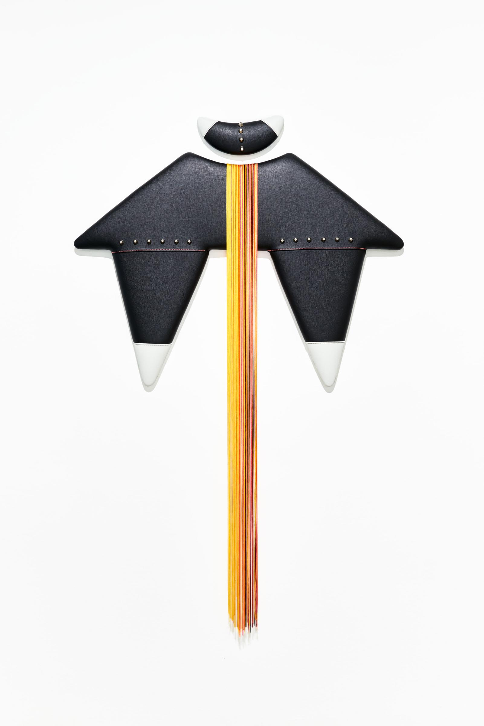 "Trish Tillman, Double Down Vinyl, hardware, tassels, wood, foam 63"" x 40"" x 2"" 2018"