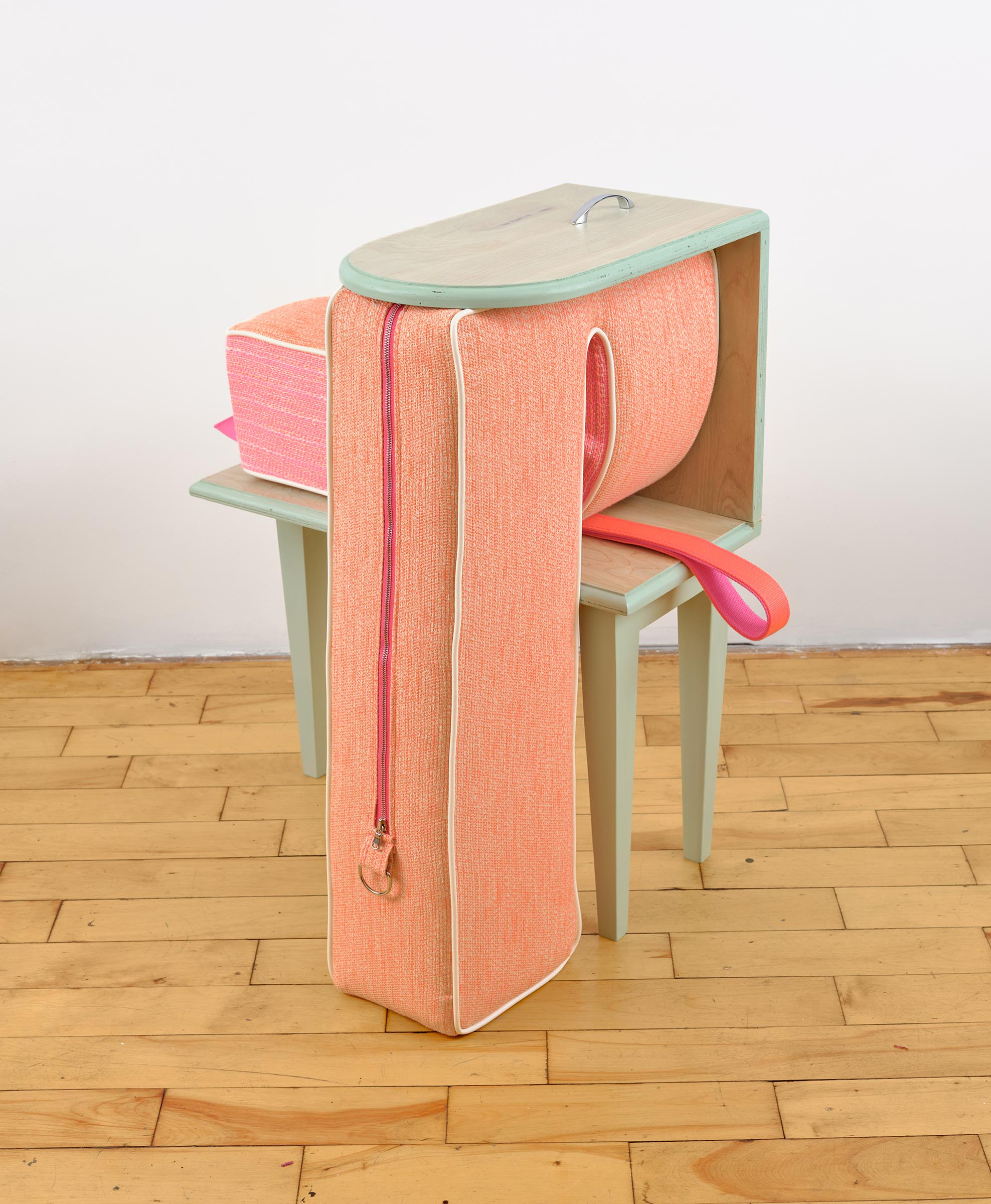 "Trish Tillman, Learning the Ropes Wood, wood stain, fabric, foam, zipper, webbing, drawer handle, hardware 30"" x 30"" x 17"" 2019"