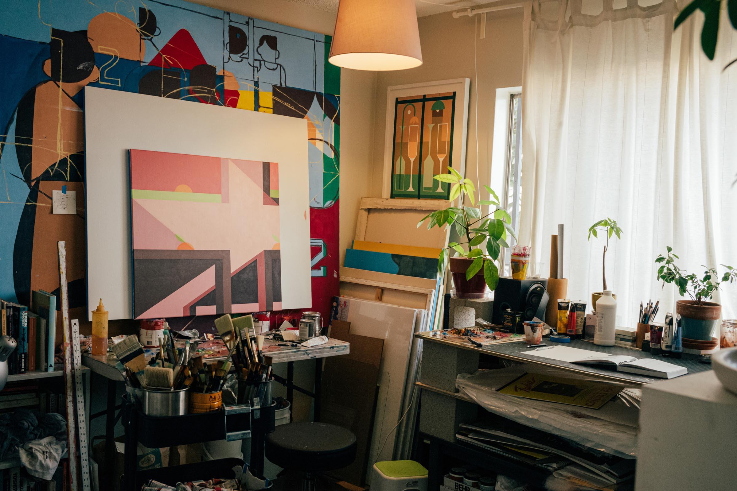 The artist's studio with work in progress