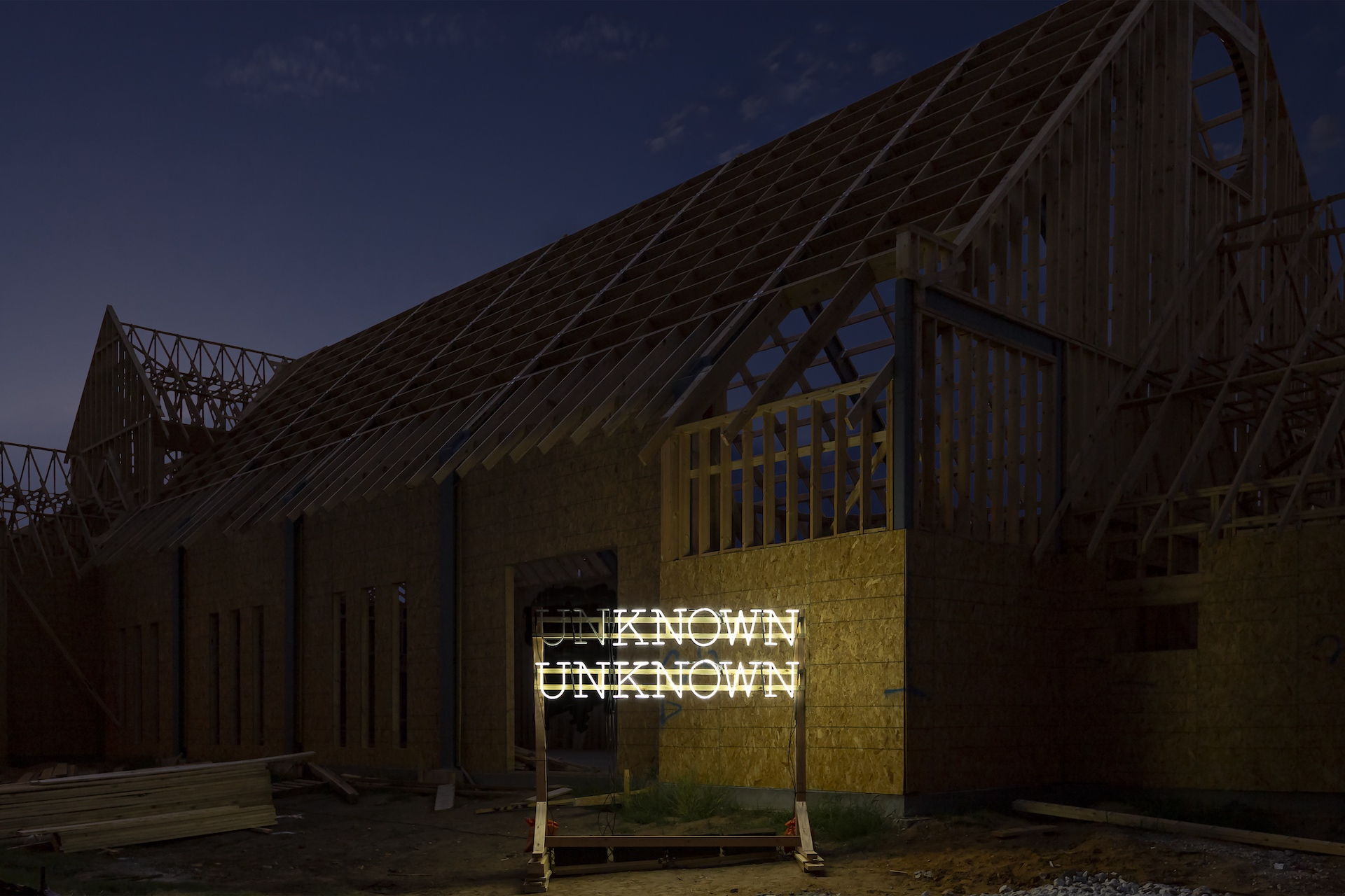 "Alicia Eggert, Known Unknown, 2015 neon, custom controller, wood 30"" x 90"" x 12"""