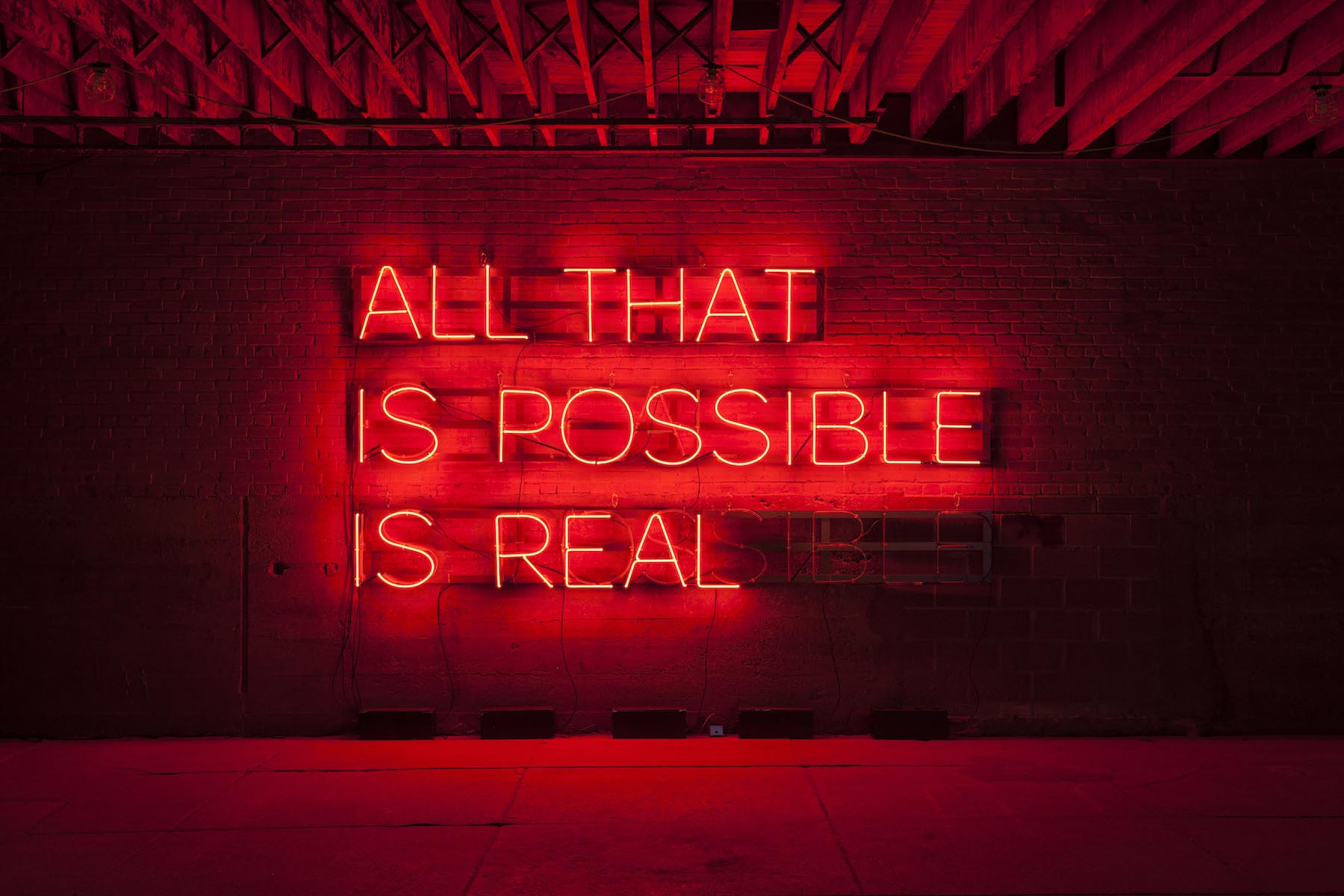 "Alicia Eggert, All That Is Possible is Real, 2016-2017 neon, powder coated steel, custom controller 96"" x 156"" x 12"""