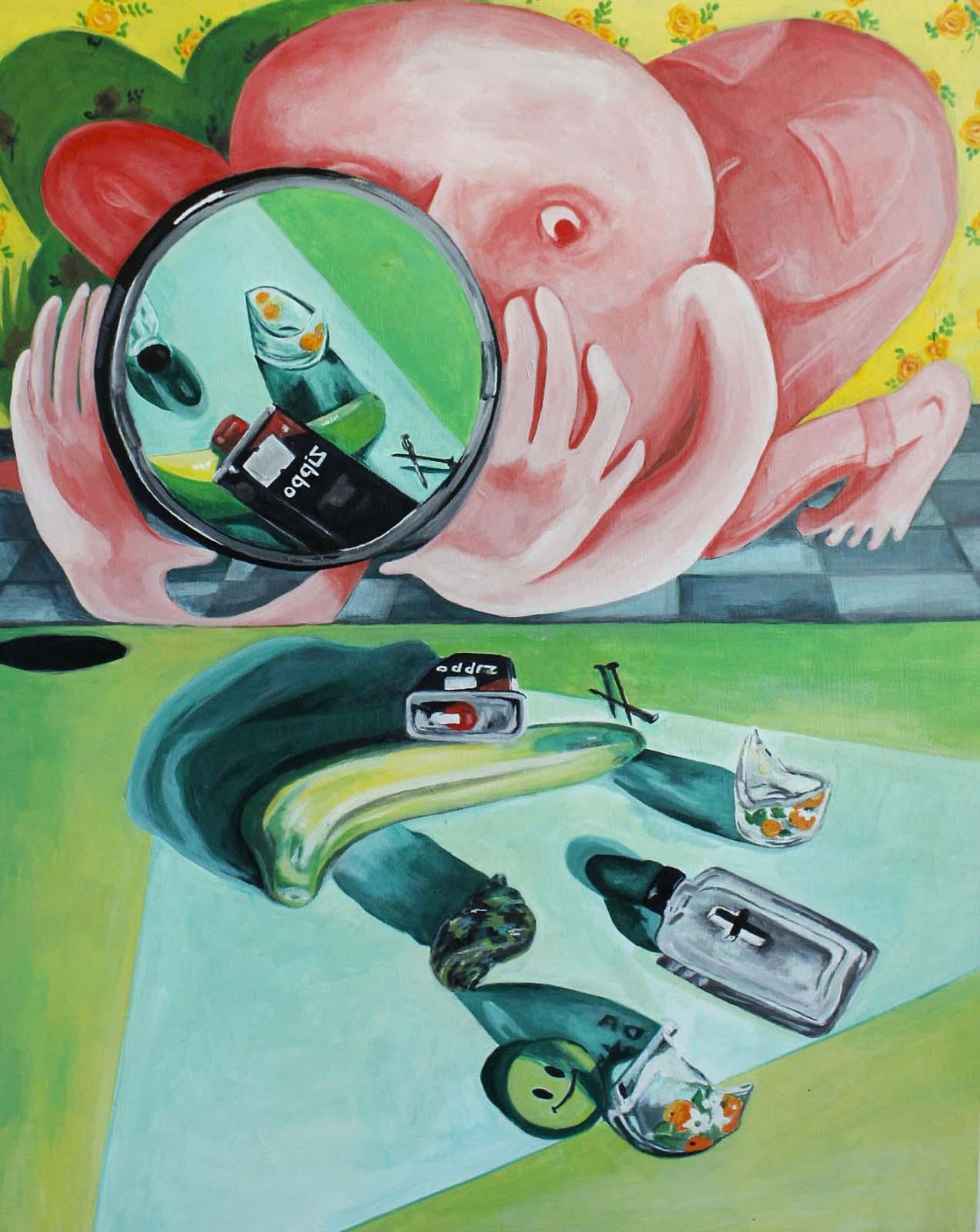 Alyssa Kaboskey, Documentation, acrylic on panel, 20