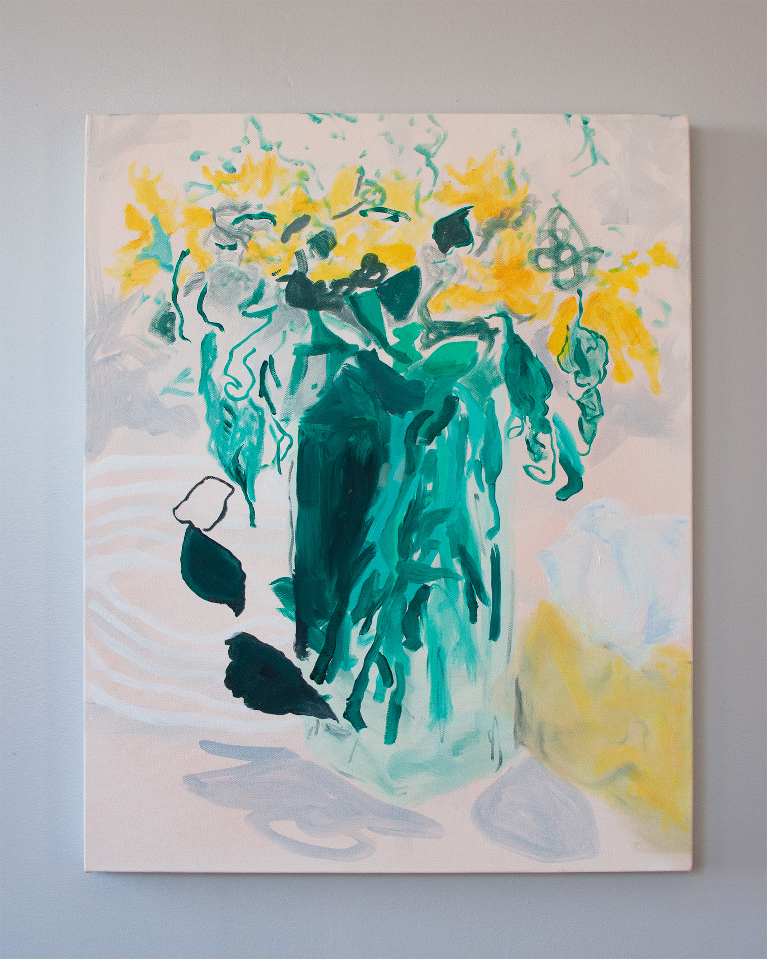 Angela Zhang, Grandpa's house (yellow flowers from cousin Shuang Shuang), 2018, oil on canvas, 30 x 24 in