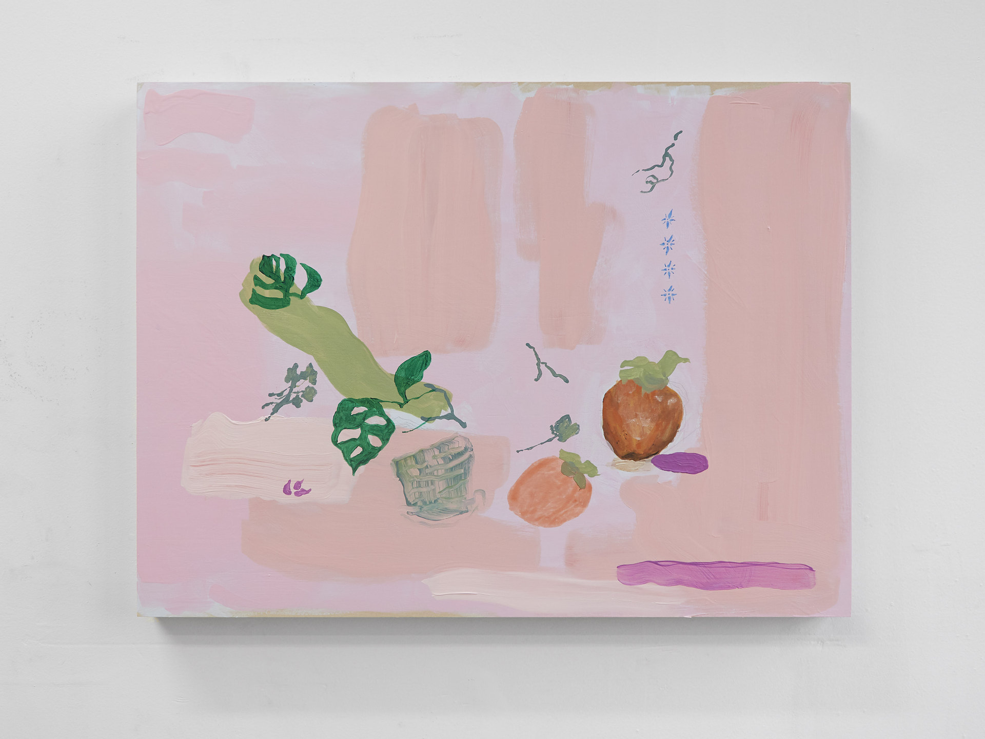 Angela Zhang, Still life with monstera and persimmons, 2017, acrylic and marker on wood panel, 18 x 24 in