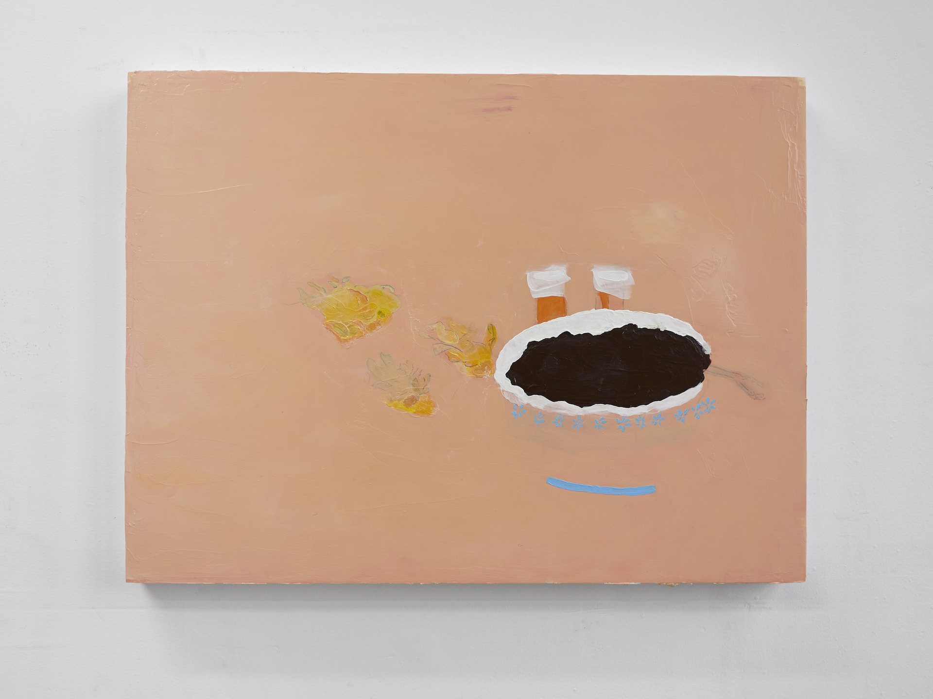 Angela Zhang, Still life with red bean soup and mom's cancer medicine, 2017, acrylic and graphite on wood panel, 18 x 24 in