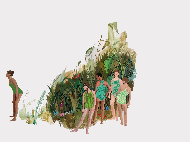 """Foliage, 2018, Gouache on paper, 22.5"""" X 30"""""""
