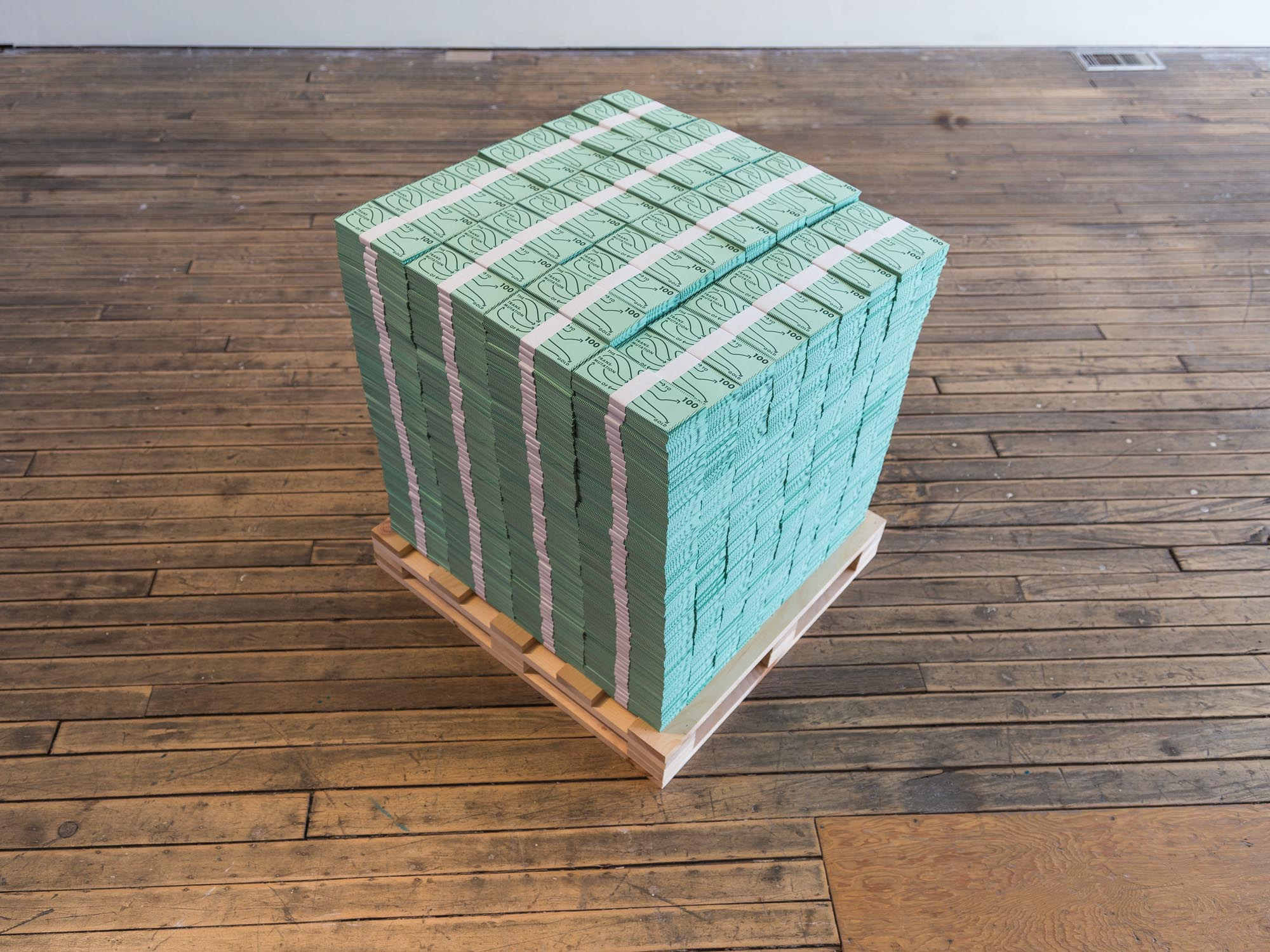 Anthony Warnick, The Transmutation Of Flesh To Gold 2018 Dimensions Variable Prison products A stack of $100 dollar bills equal to the $162,510,000, the profits for Correction Corporation of America for 2017