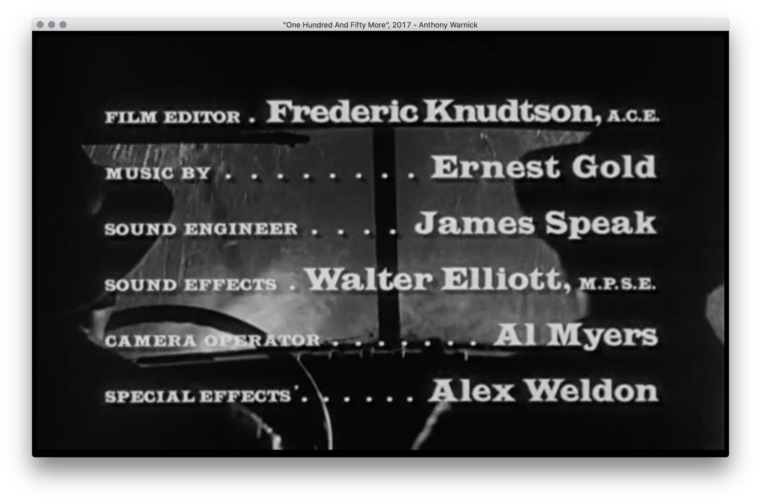 Anthony Warnick, One Hundred And Fifty More 2017 Digital Projection (Black and White, Silent), Custom Software The film, The Defiant Ones (1968) slowed down so that it will take 150 years to play through. This is packaged as a custom application that plays only where we are in the film.