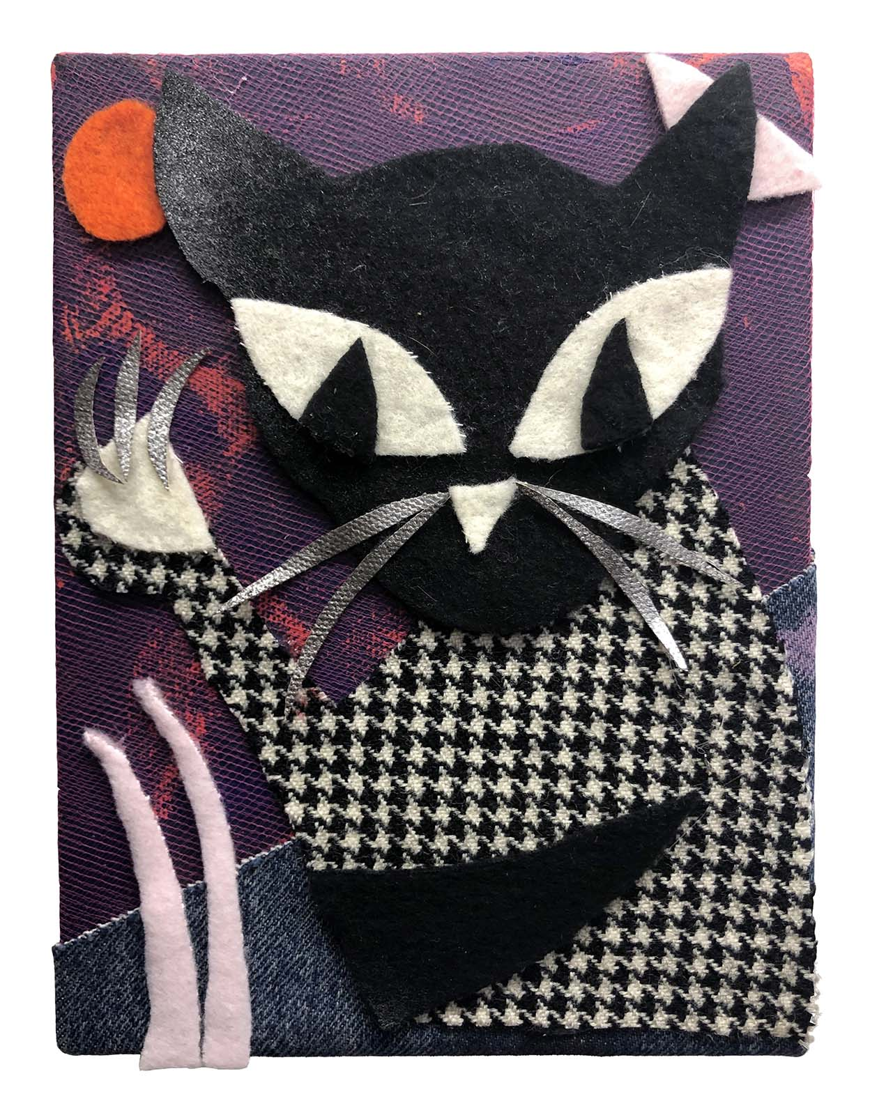 Chris Williford, Houndstooth Kitty at Sunset (2019), Fleece, felt, tulle, and acrylic on canvas