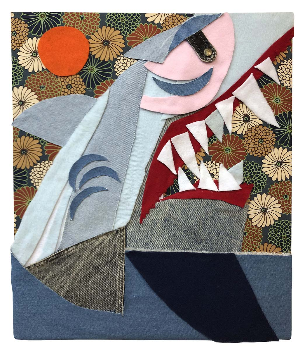 Chris Williford, Shark Rise with Orange Sun (2019), Fleece, bleached denim, felt, and printed cotton on canvas