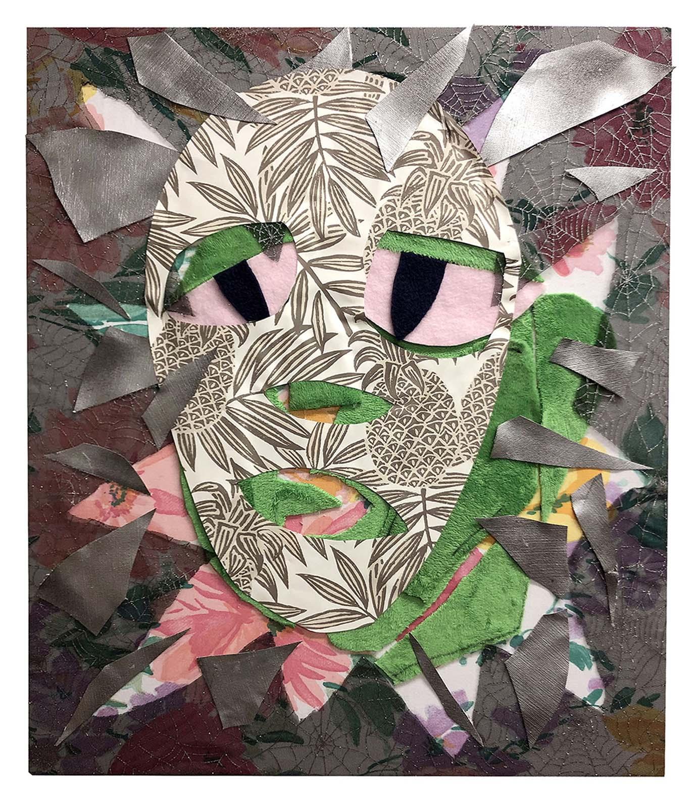 Chris Williford, Tropical Sheet Mask (2019) Fleece, vinyl, enamel, tulle, and printed cotton on canvas