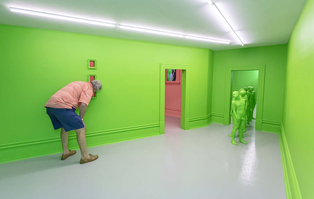 Christina A. West, Screen, 2018, mixed media installation: I also added a temporary wall in the second room of the gallery-which is the green wall pictured here.