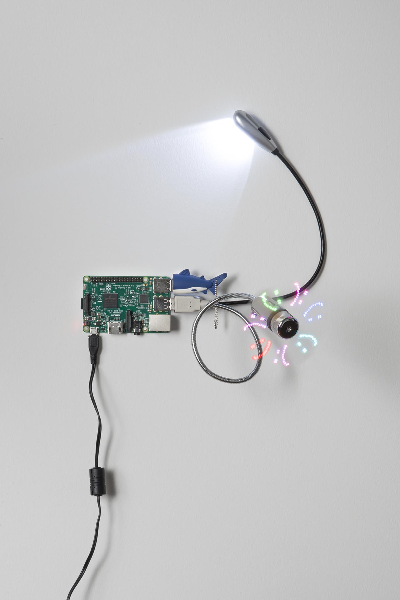 RPI: fields of environmental sensing, 2017 Raspberry pi, micro sd card, power adapter, 16Gb shark flash drive, 2 LED USB light, programmable RGB LED USB fan, 10 x 12 x 10 in Single-board microcomputers configured with miscellaneous USB peripherals.