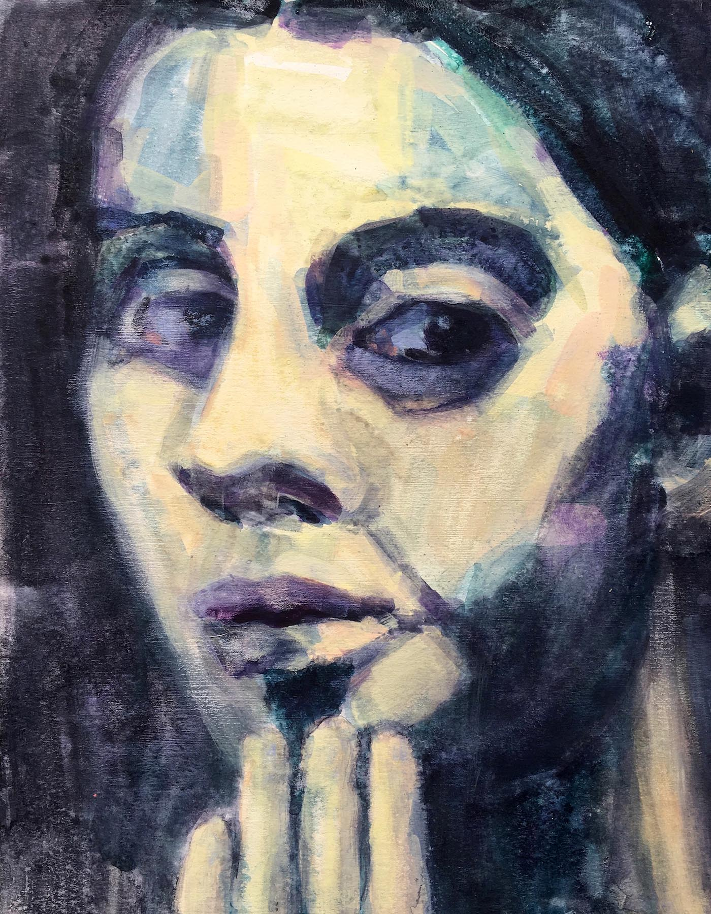 Colleen Kiely, Paula #6, 2018, Gouache & watercolor on acid-free watercolor paper, 14 x 11 in.