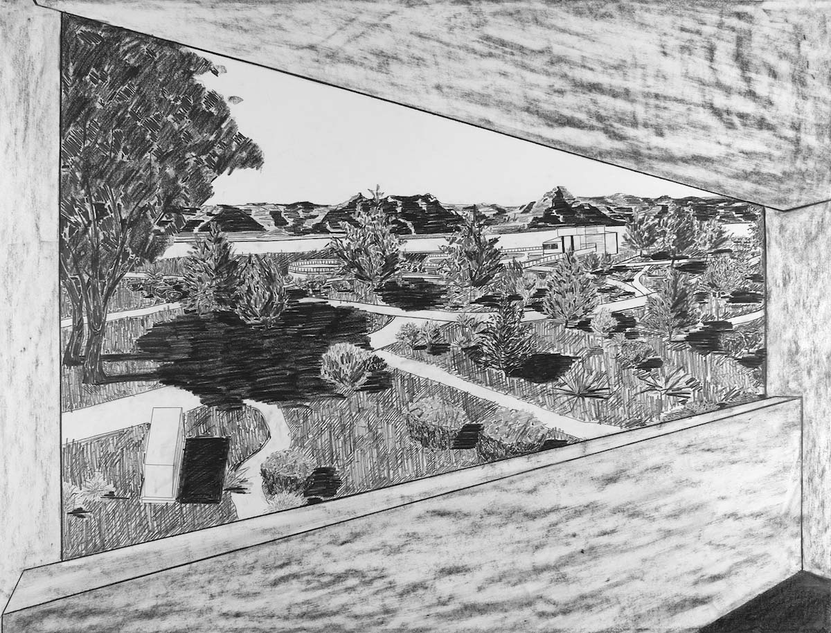Dave Walsh, Room with a View, Graphite on Paper, 38