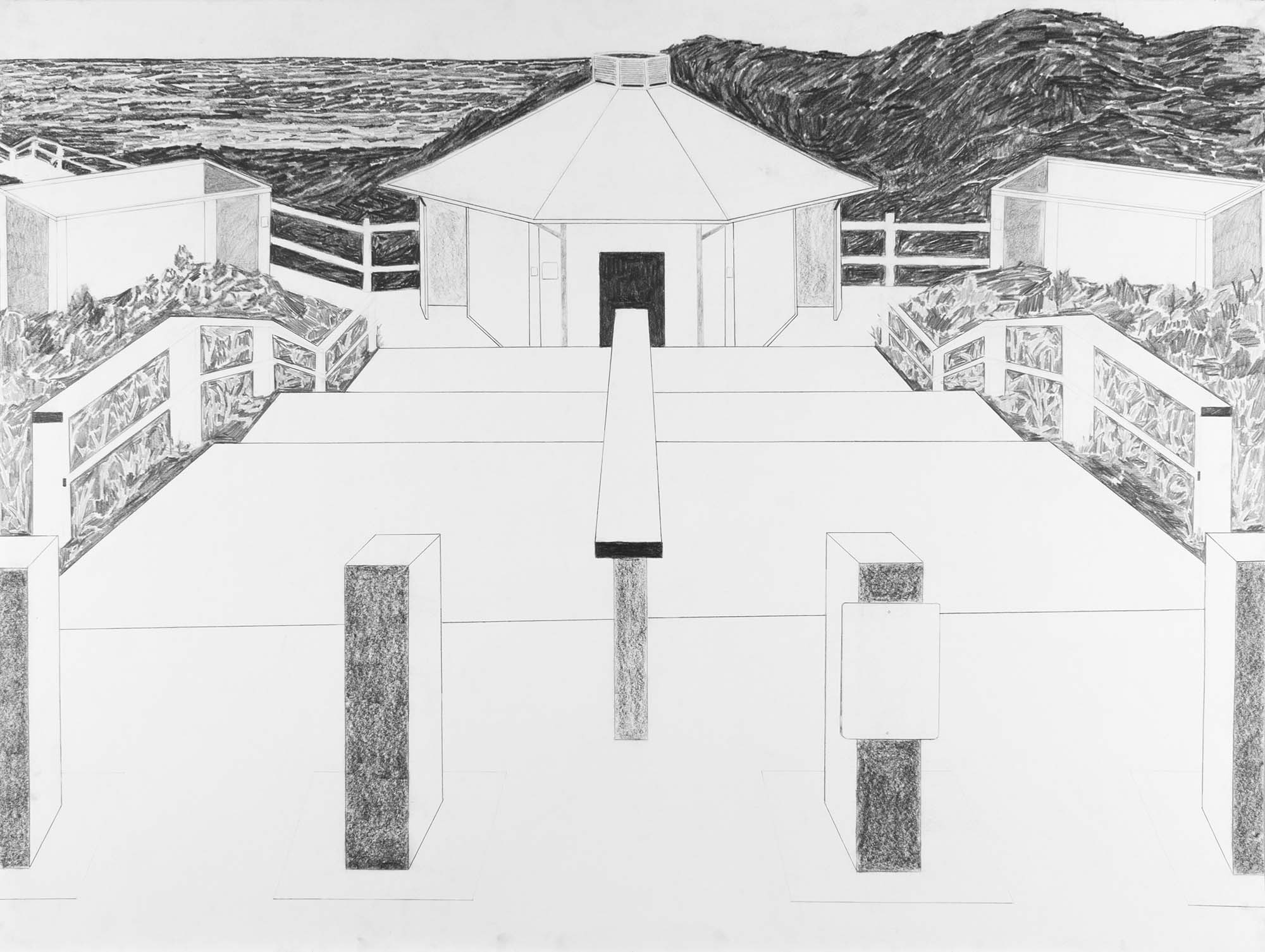 Dave Walsh, Beach Facilities, Graphite on Paper, 38