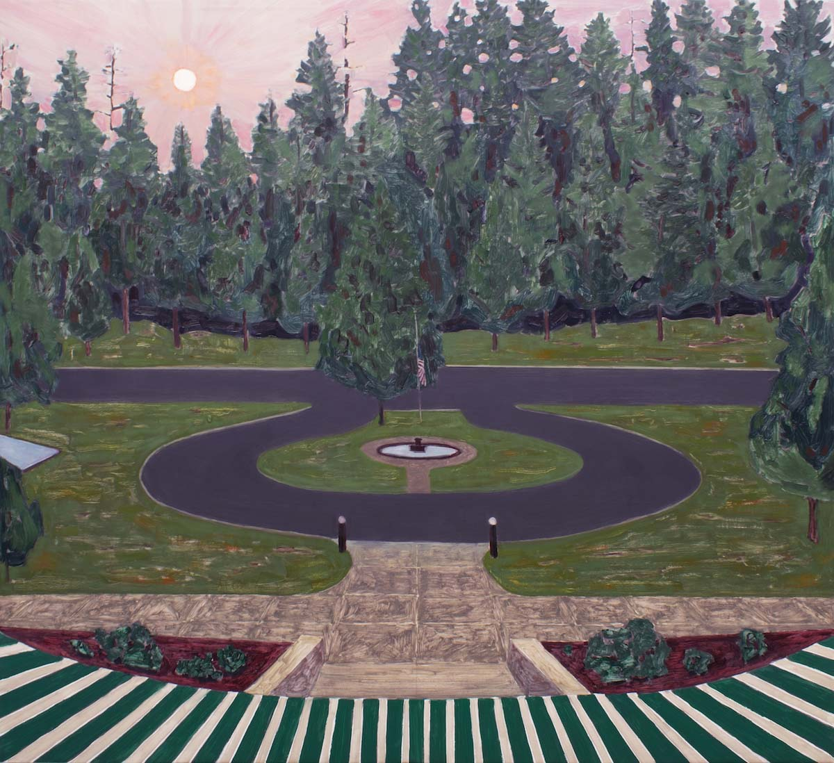 Dave Walsh, Wildfire at Big Trees Lodge, Oil on Canvas, 54
