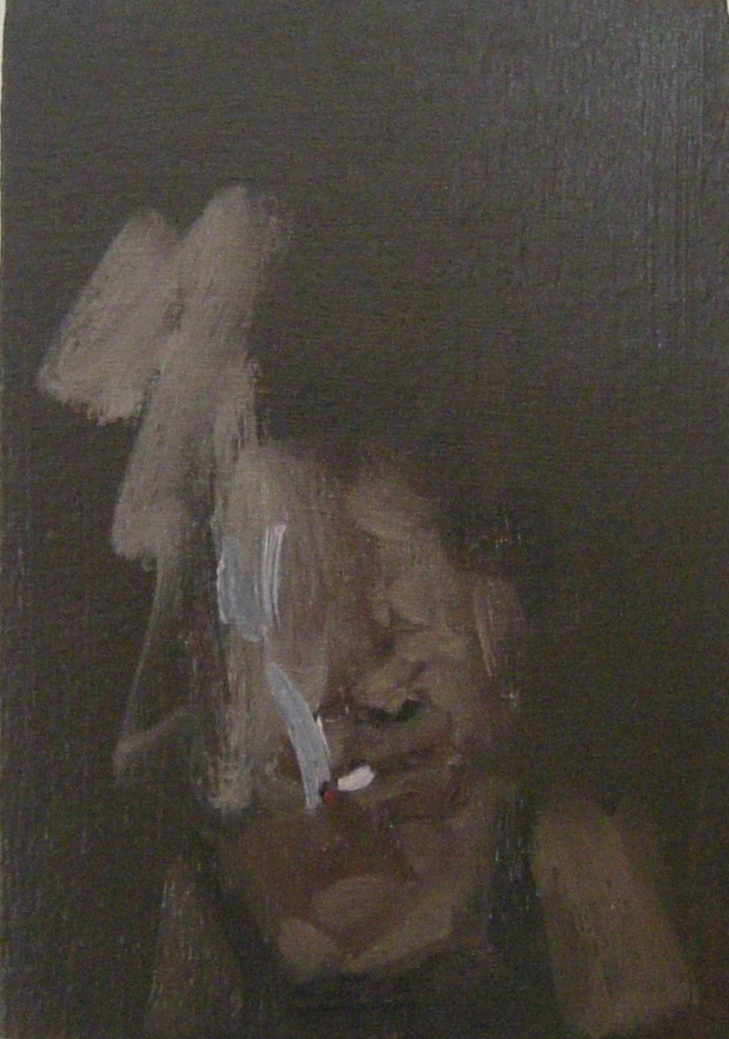 SmokinWoman Smoking, 2017, oil on wood, 3.5 x 5 inchesg