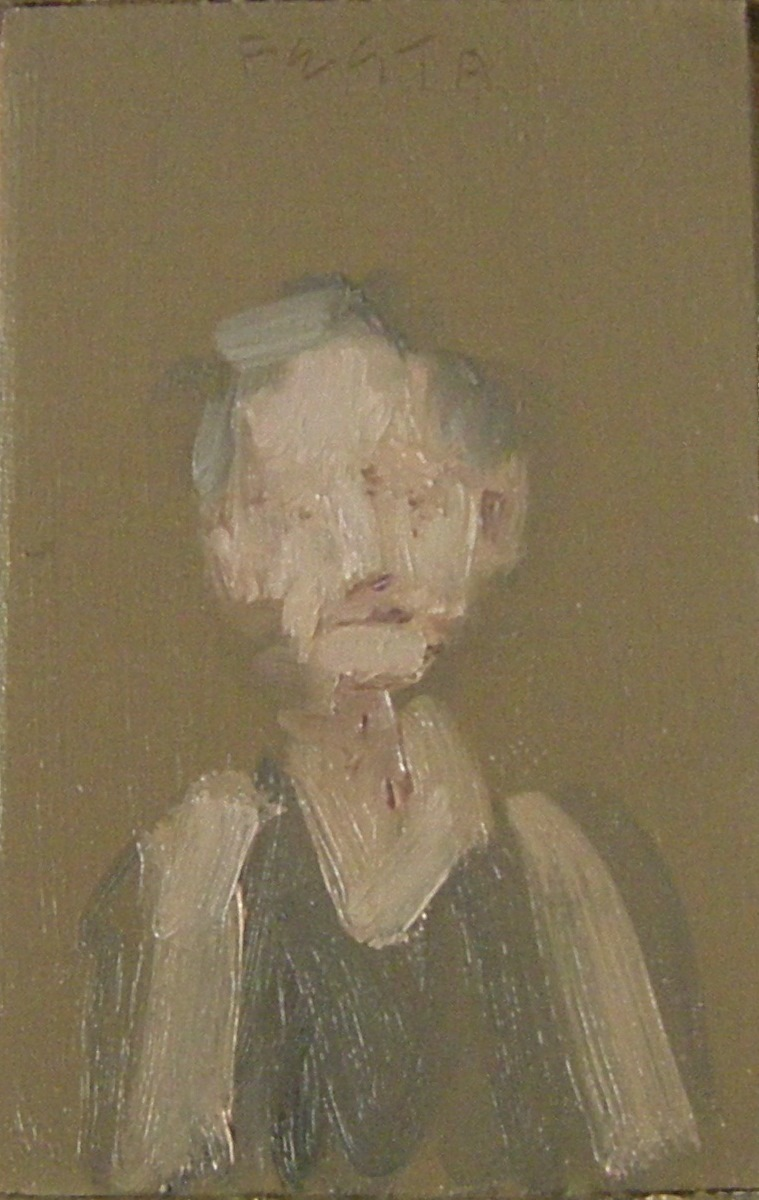 Woman in a Sleeveless Dress, 2017, oil on wood, 3.5 x 5 inches