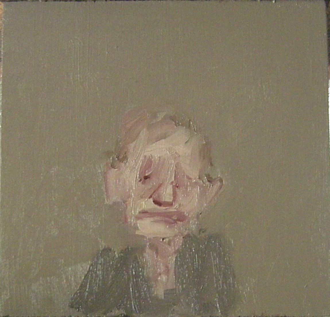 An Old Woman in Gray, 2017, oil on wood, 5.5 x 5.5 inches