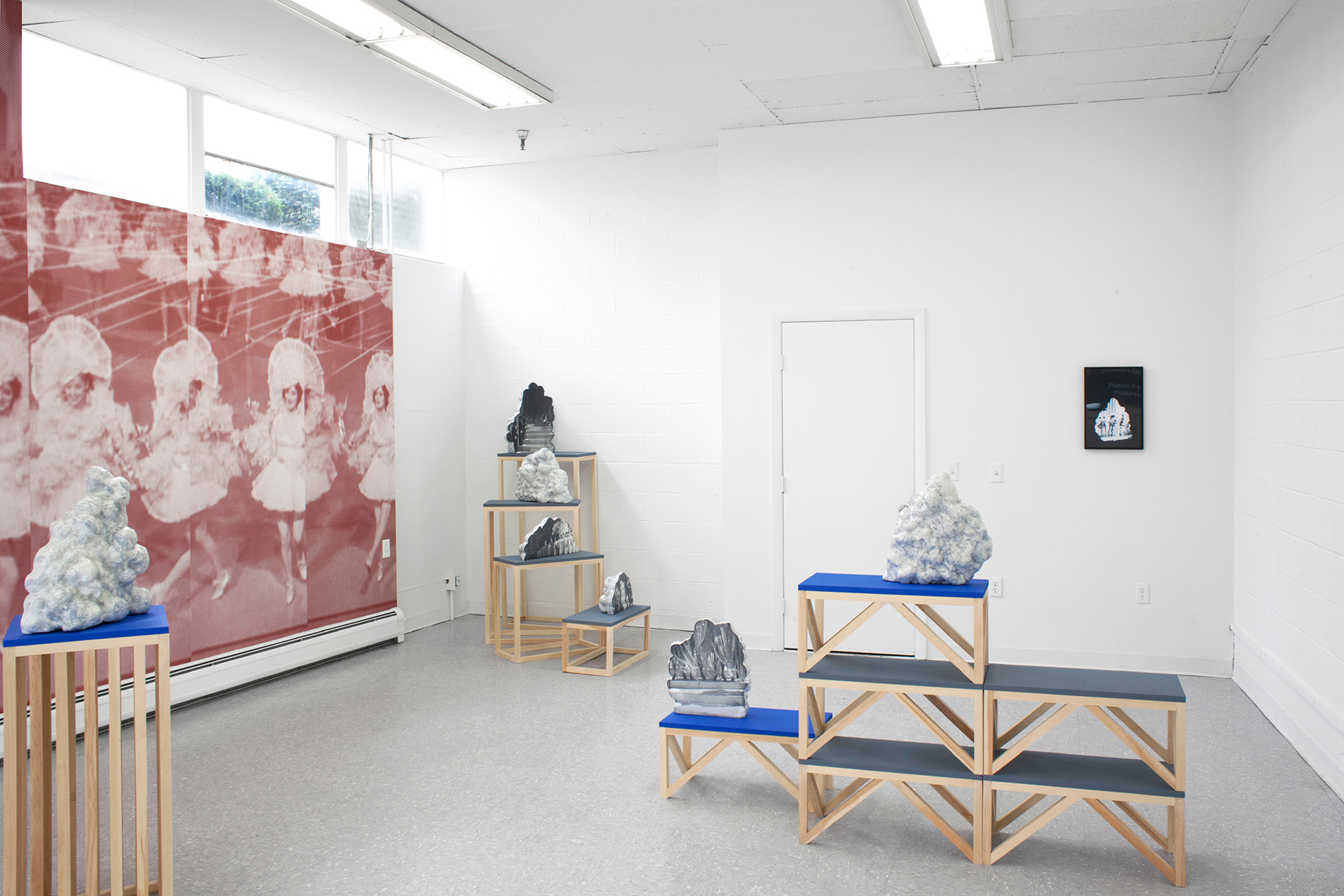 Elizabeth Corkery, Pieces from Pictures (installation view), 2017, Wood, expanding foam, expoxy resin, screenprint, archival digital print. Dimensions variable